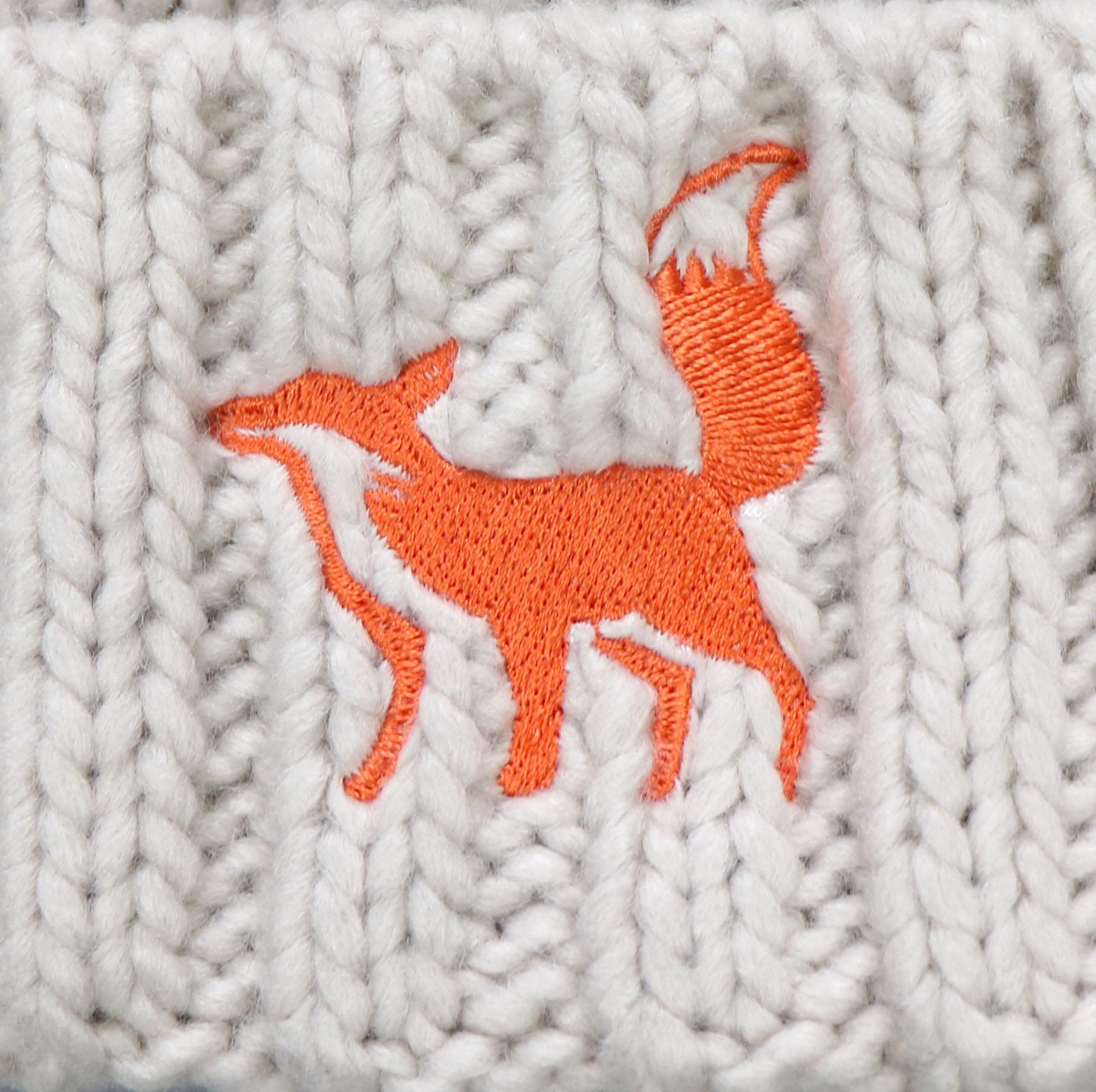 Fox Oatmeal Pom Beanie