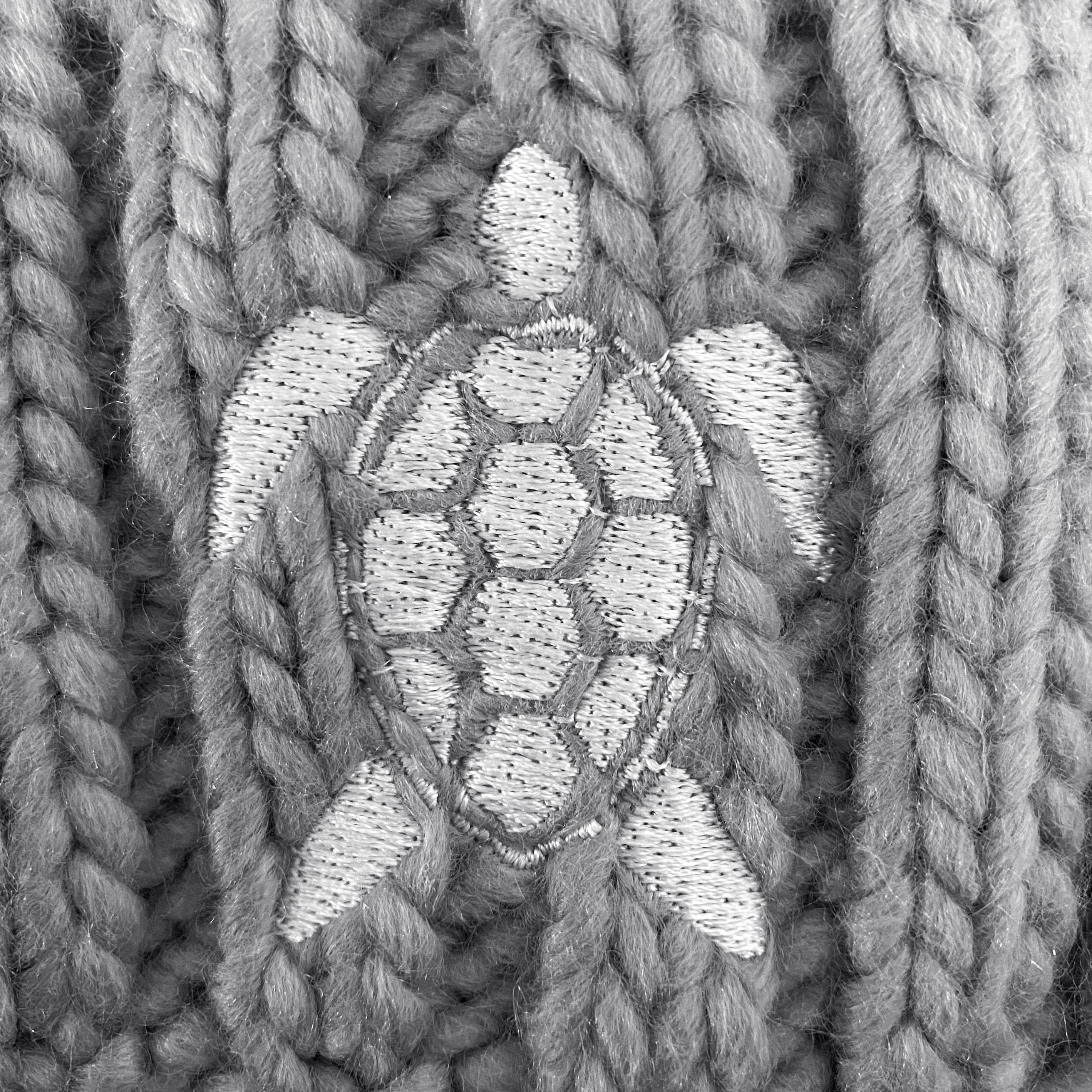 Turtle Grey Pom Beanie