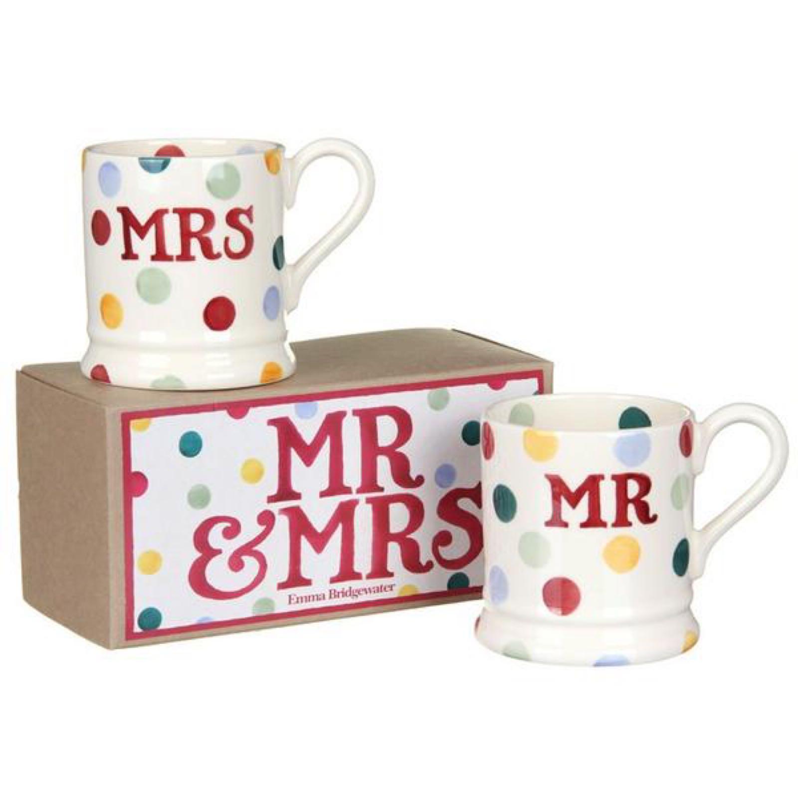 "Emma Bridgewater Polka Dot ""Mr & Mrs"" Set of 2 1/2 Pint Mugs Boxed"