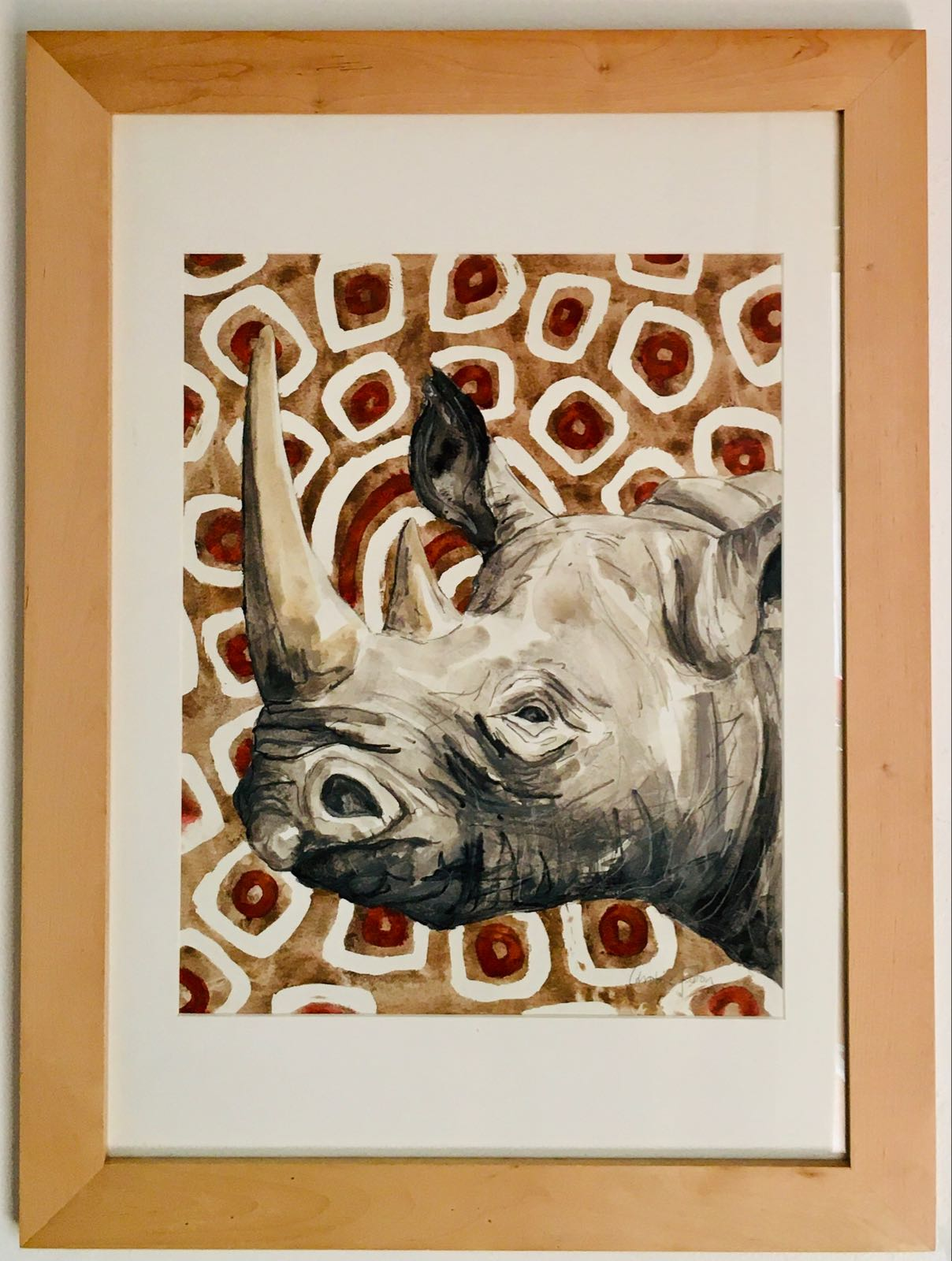 Black Rhino with Red and Brown Batik