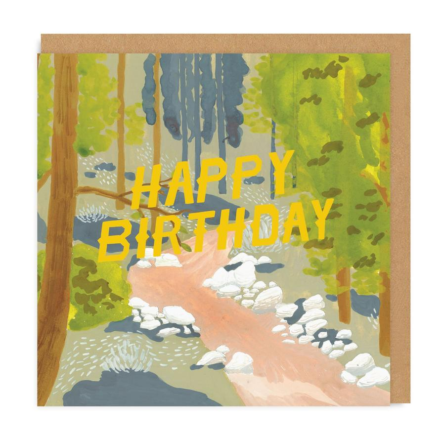 Happy Birthday Forest Square Greeting Card