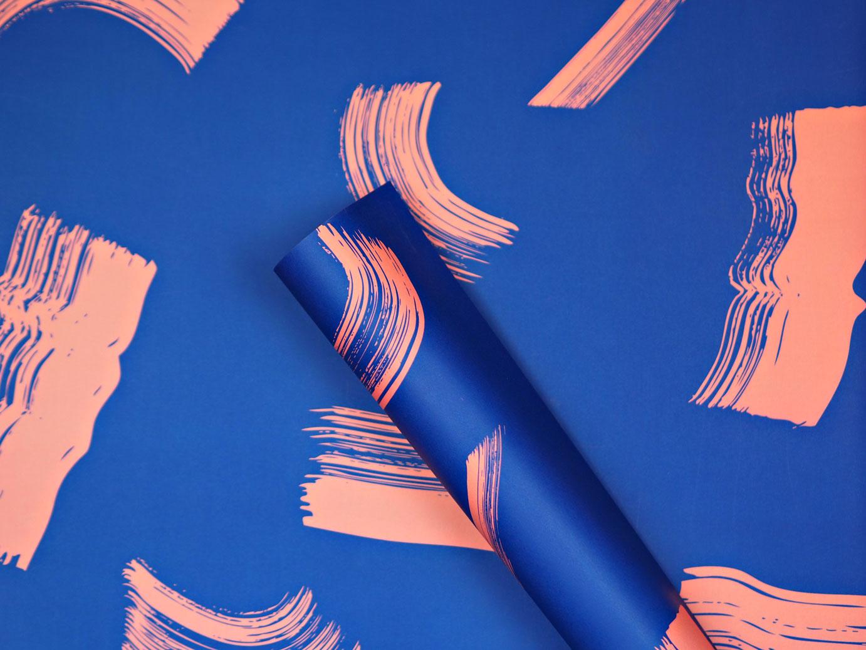 Blue Shadow Brush Gift Wrap
