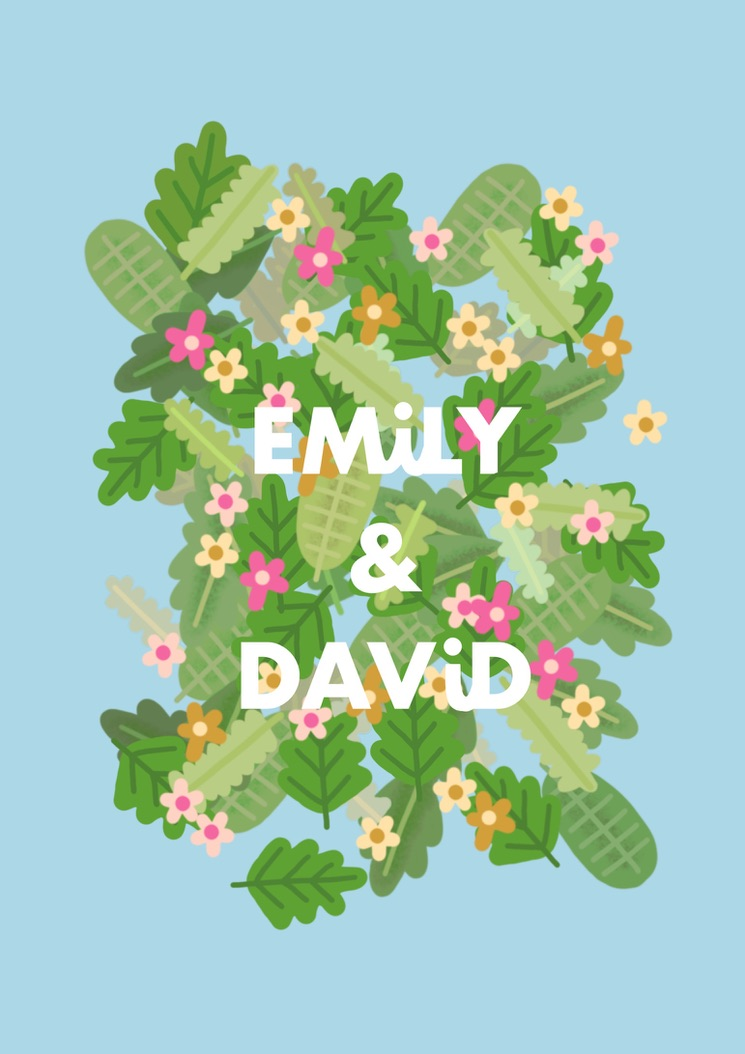 Custom Floral Name Print A3 or A4