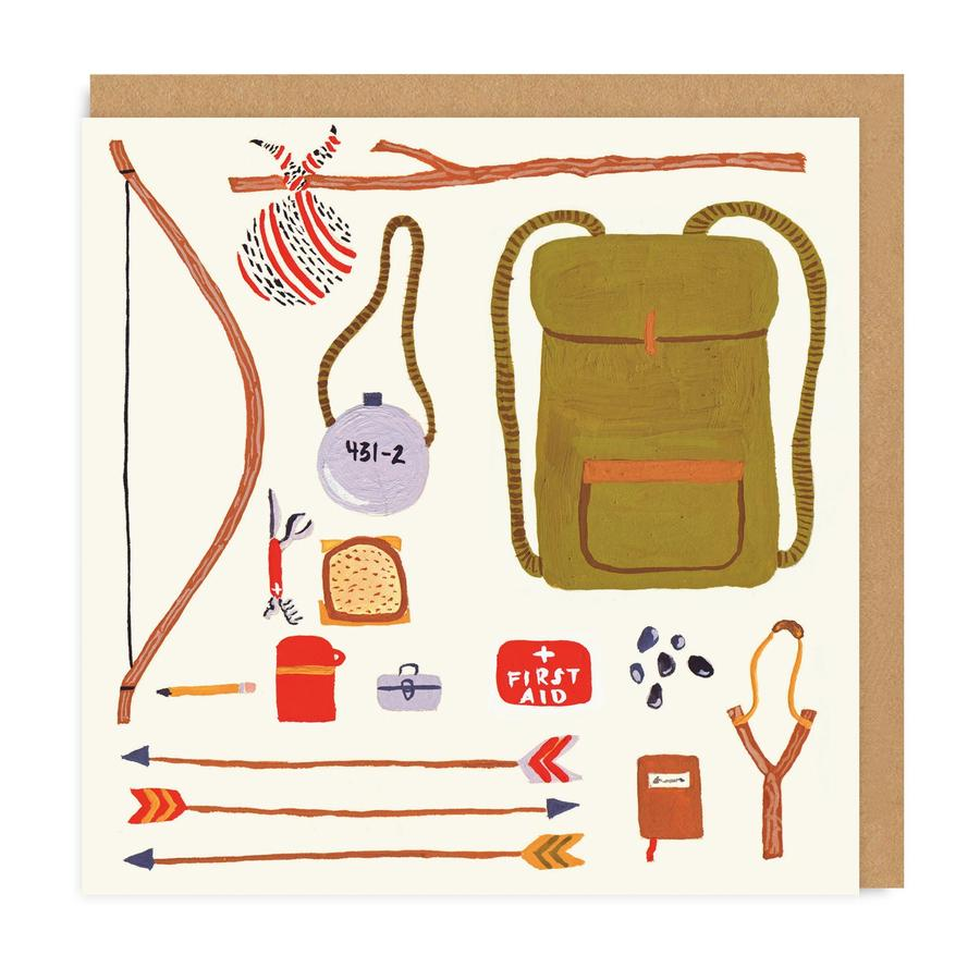 Back Packing Square Greeting Card