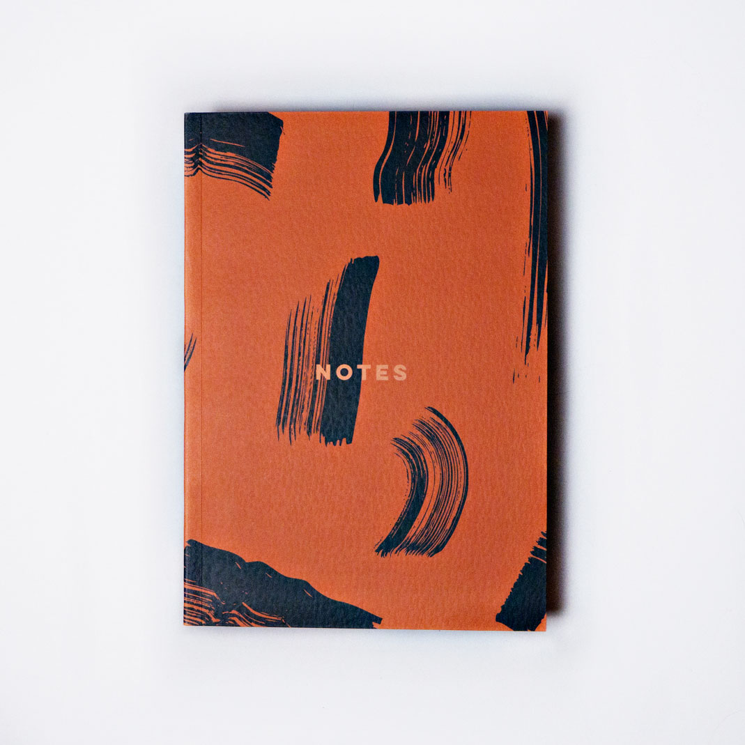 Burnt Peach Shadow Brush Lay Flat Notebook