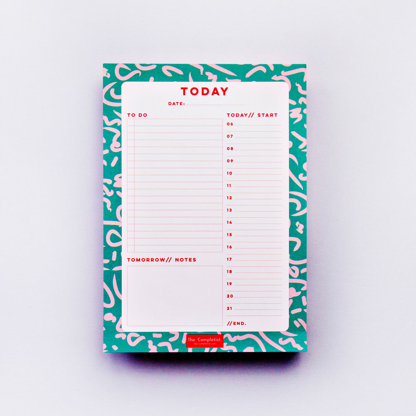 Green Squiggle Daily Planner Pad