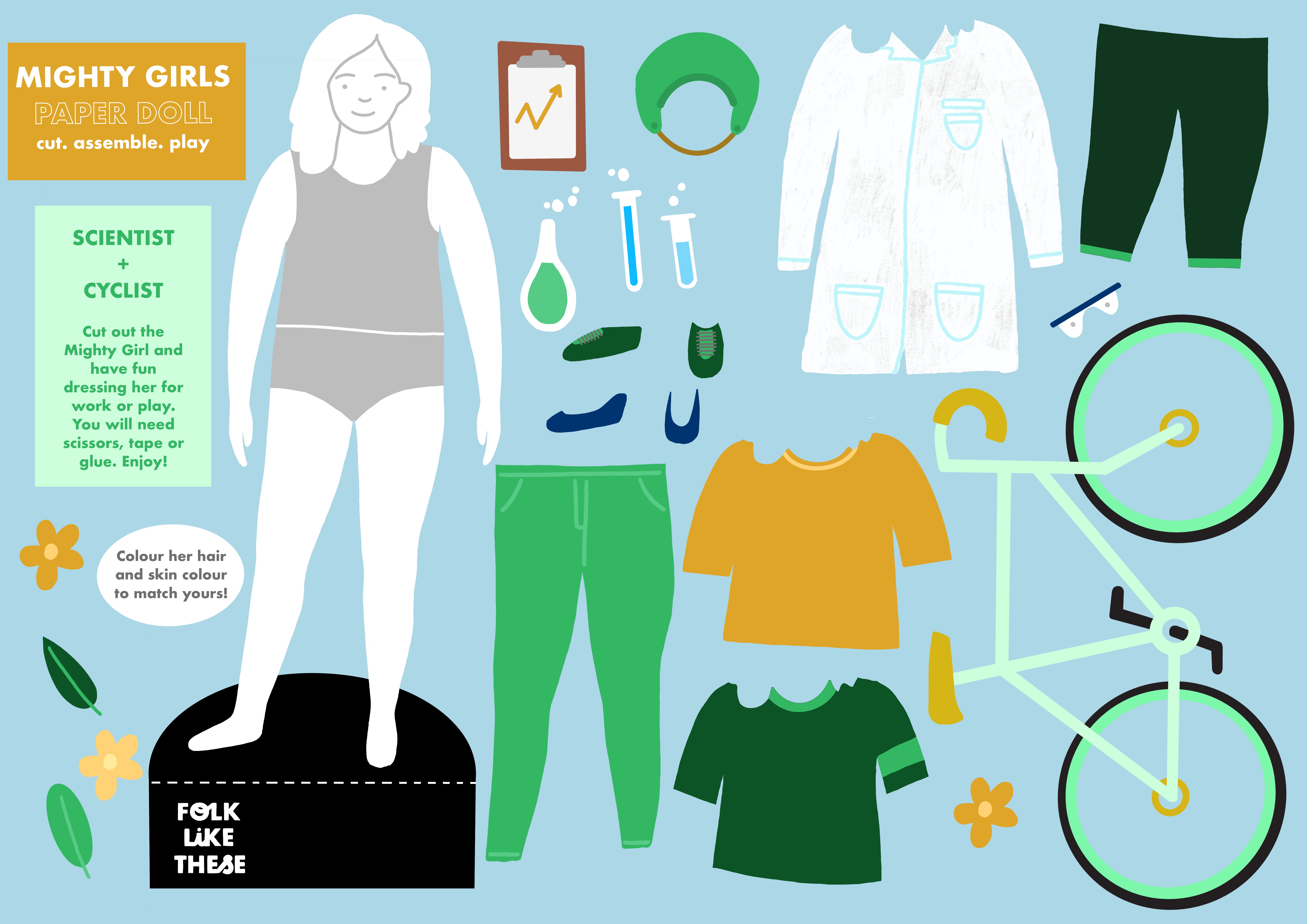 Mighty Girls Paper Doll - Scientist and Cyclist