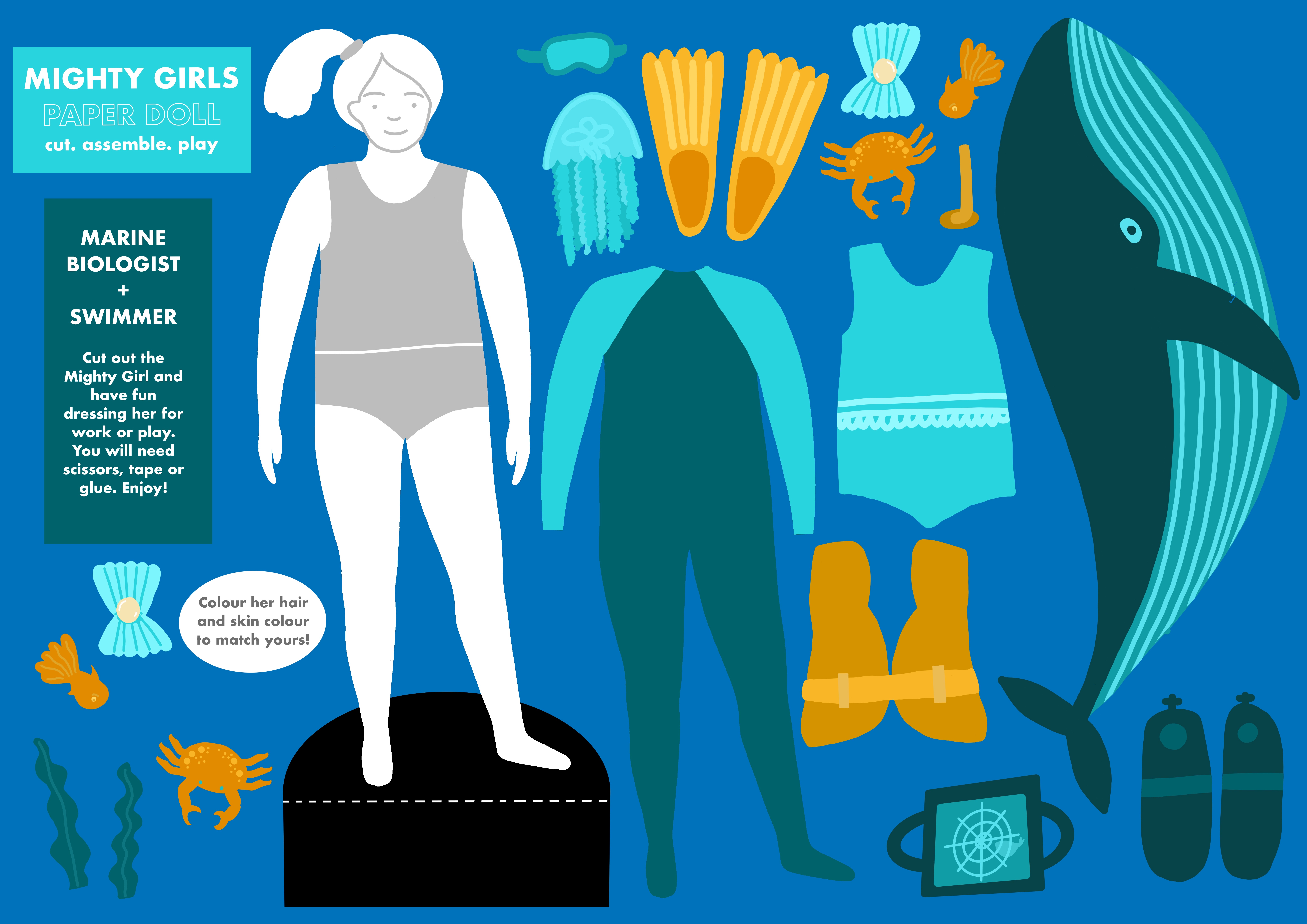 Mighty Girls Paper Doll - Marine Biologist and Swimmer.