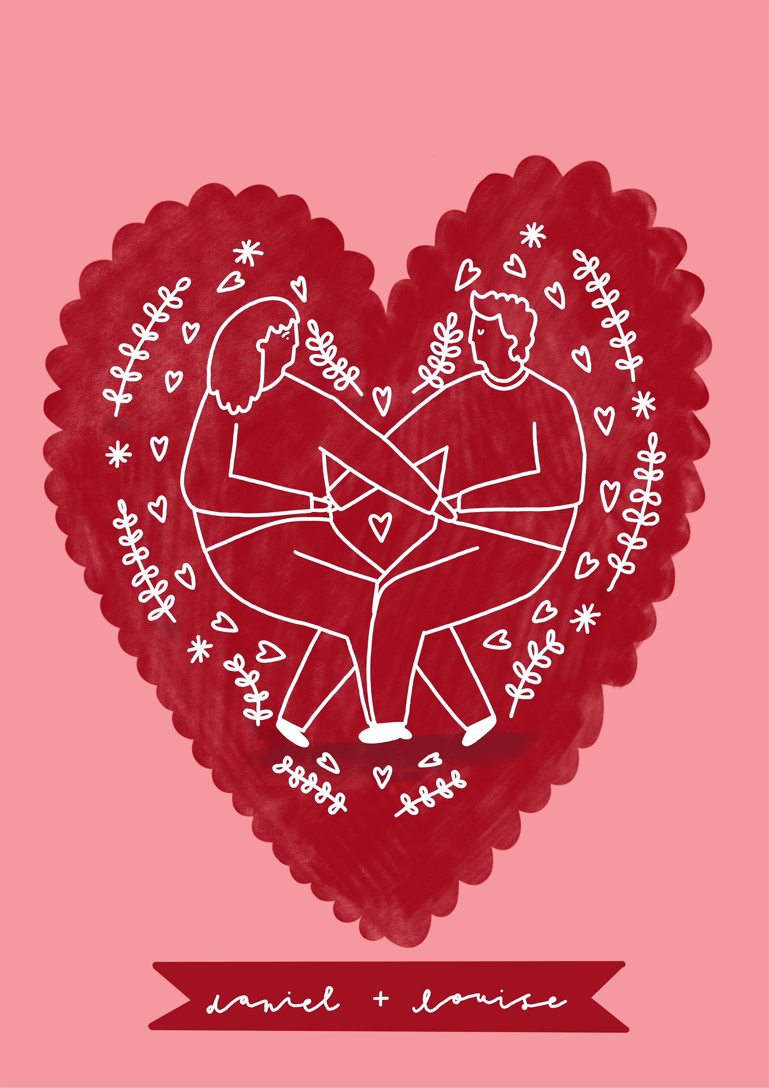 CUSTOM COUPLES PRINT Love Heart A3