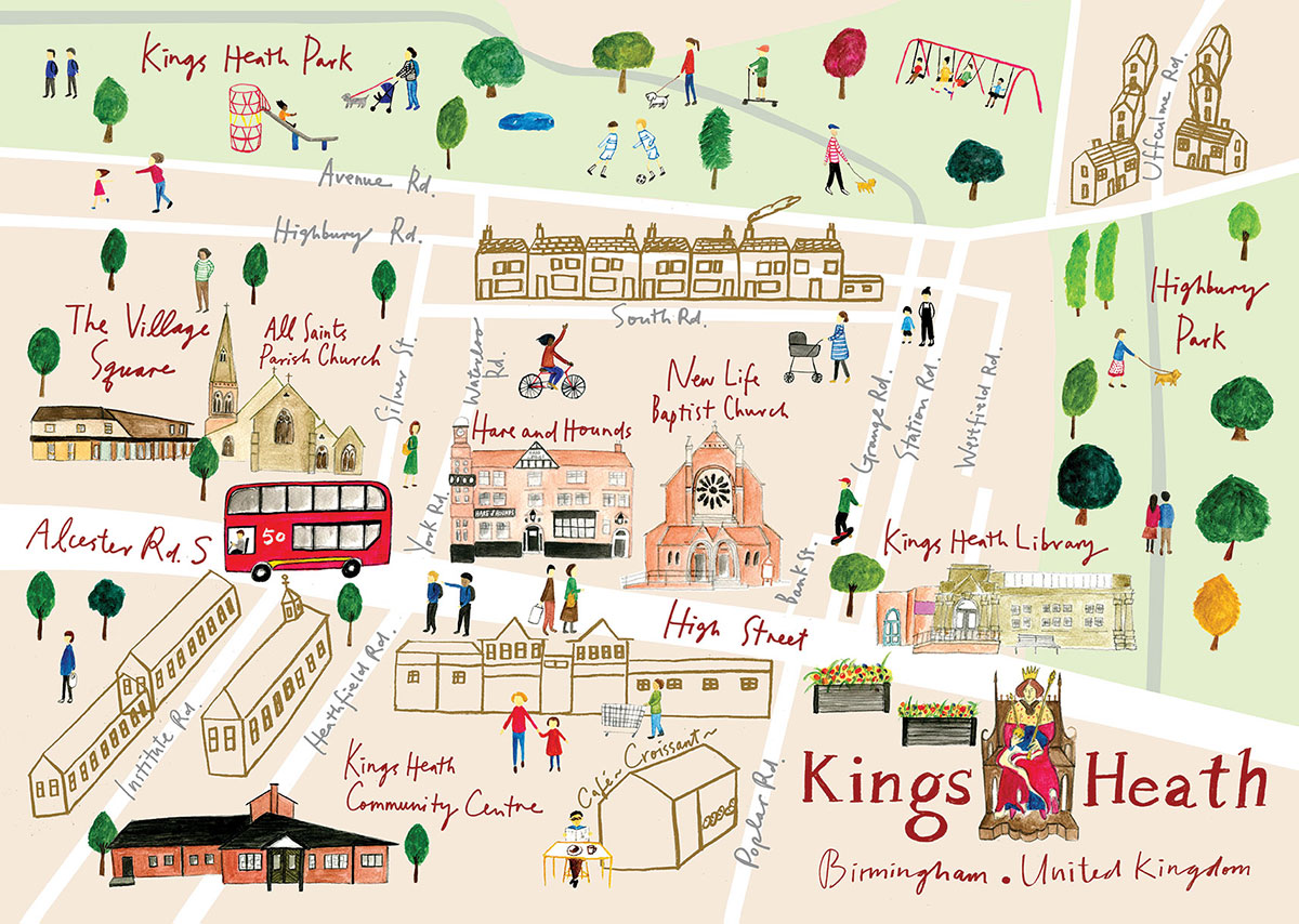 Illustrated Map of Kings Heath A3