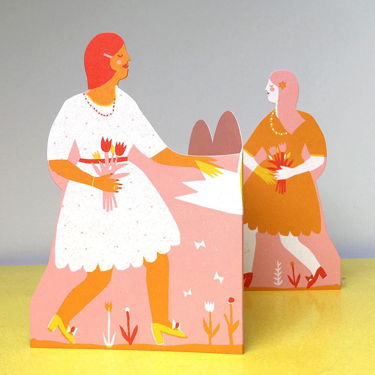 Two Women Concertina Heart Card