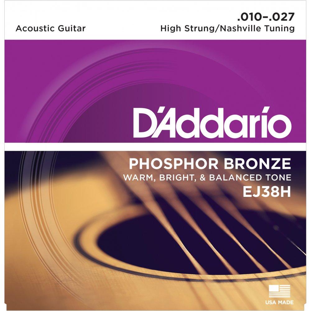 D'ADDARIO EJ38H Phosphor Bronze, High Strung/Nashville Tuning, 10-27