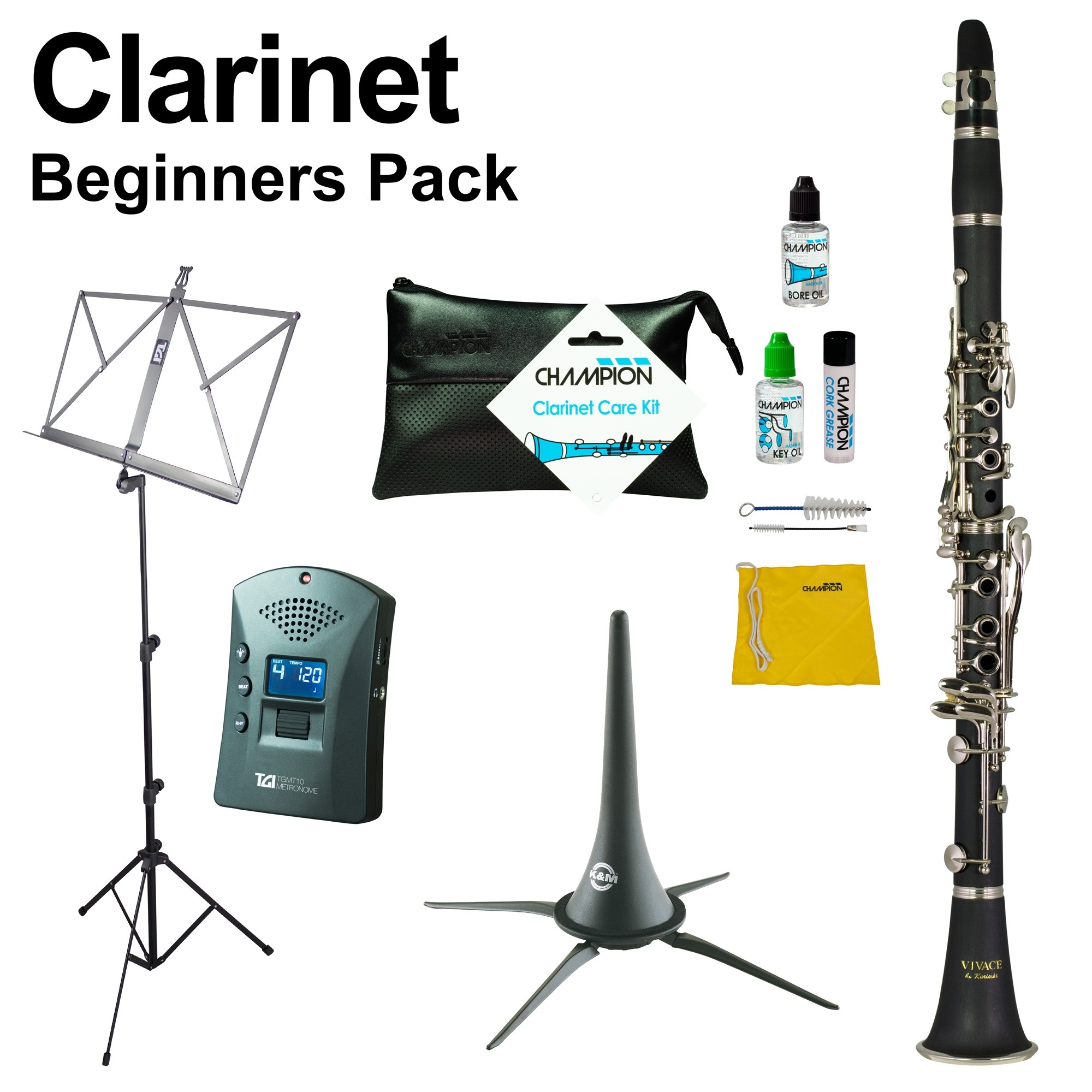 CLARINET BEGINNERS PACK - INC CASE, CARE KIT, STANDS AND MORE