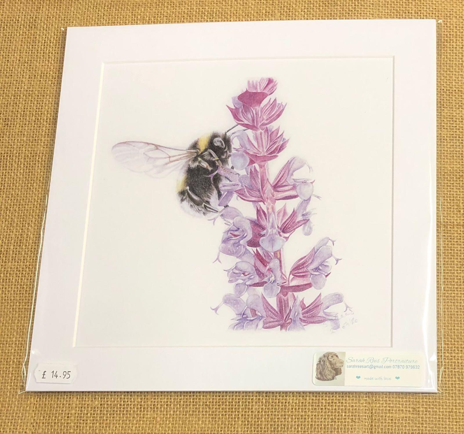 Bee on purple flower print