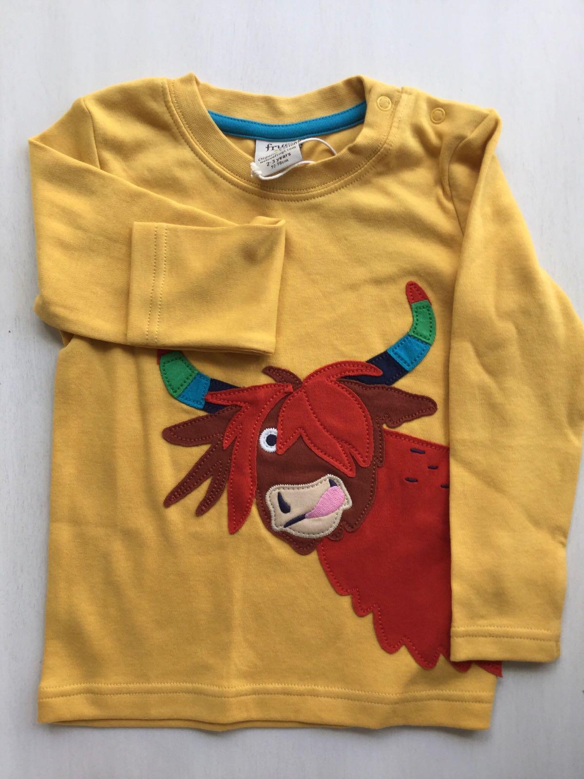 NEW - Frugi - Adventure appliqué top - Bumble bee/ cow
