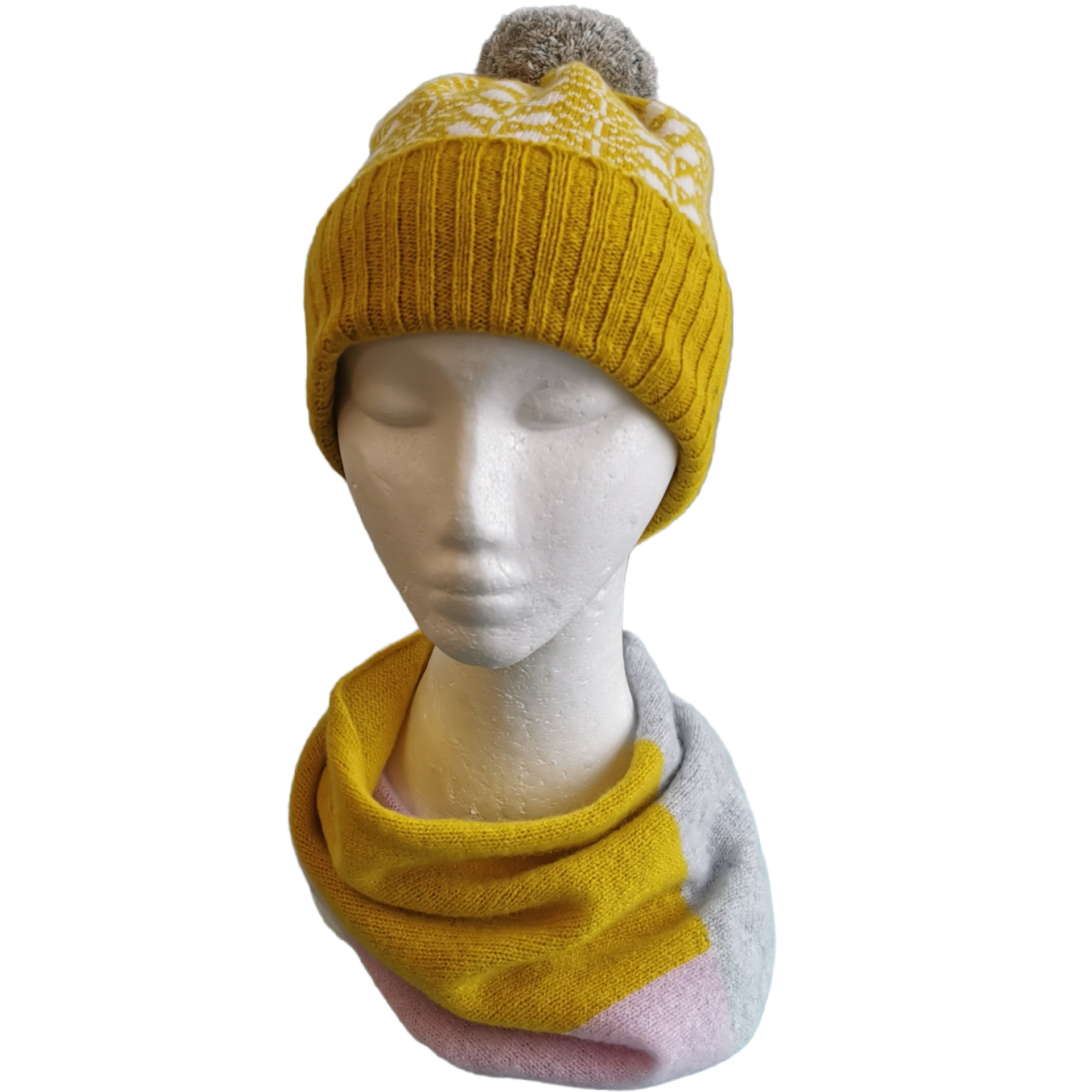 Leaf Design Pom-Pom Hat by Scarlet Knitwear