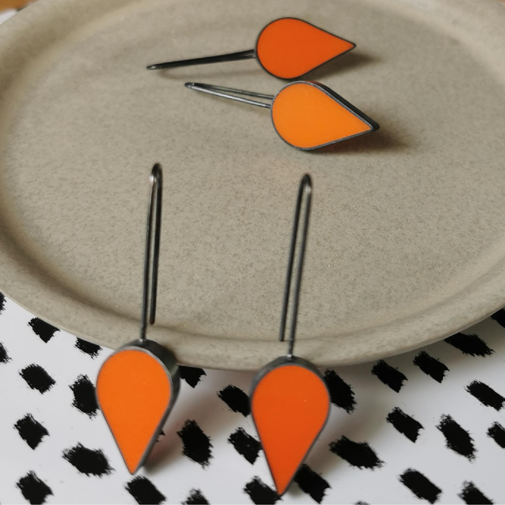 Orange Resin Teardrop Earrings by Claire Lowe