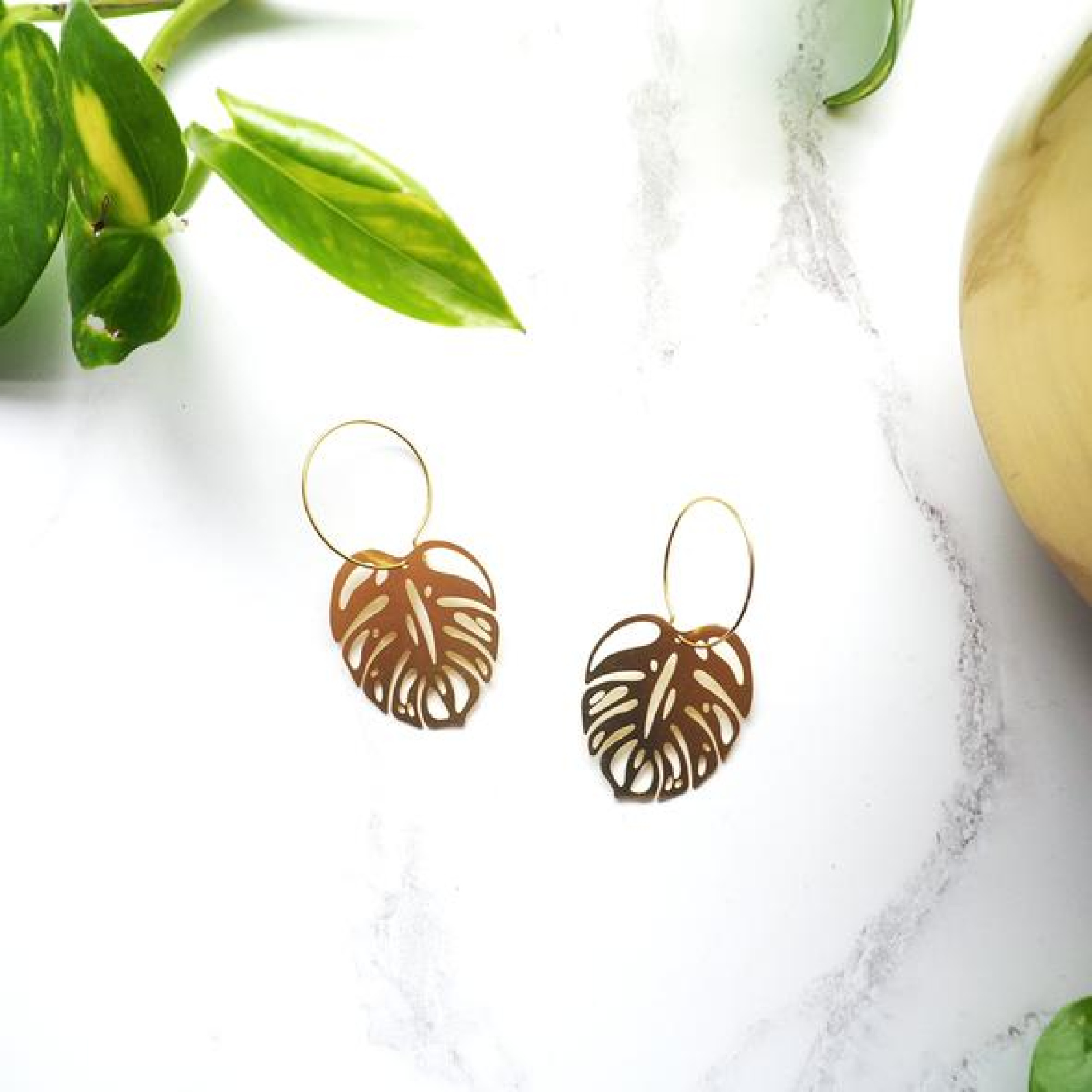 Monstera Earrings by Mica Peet