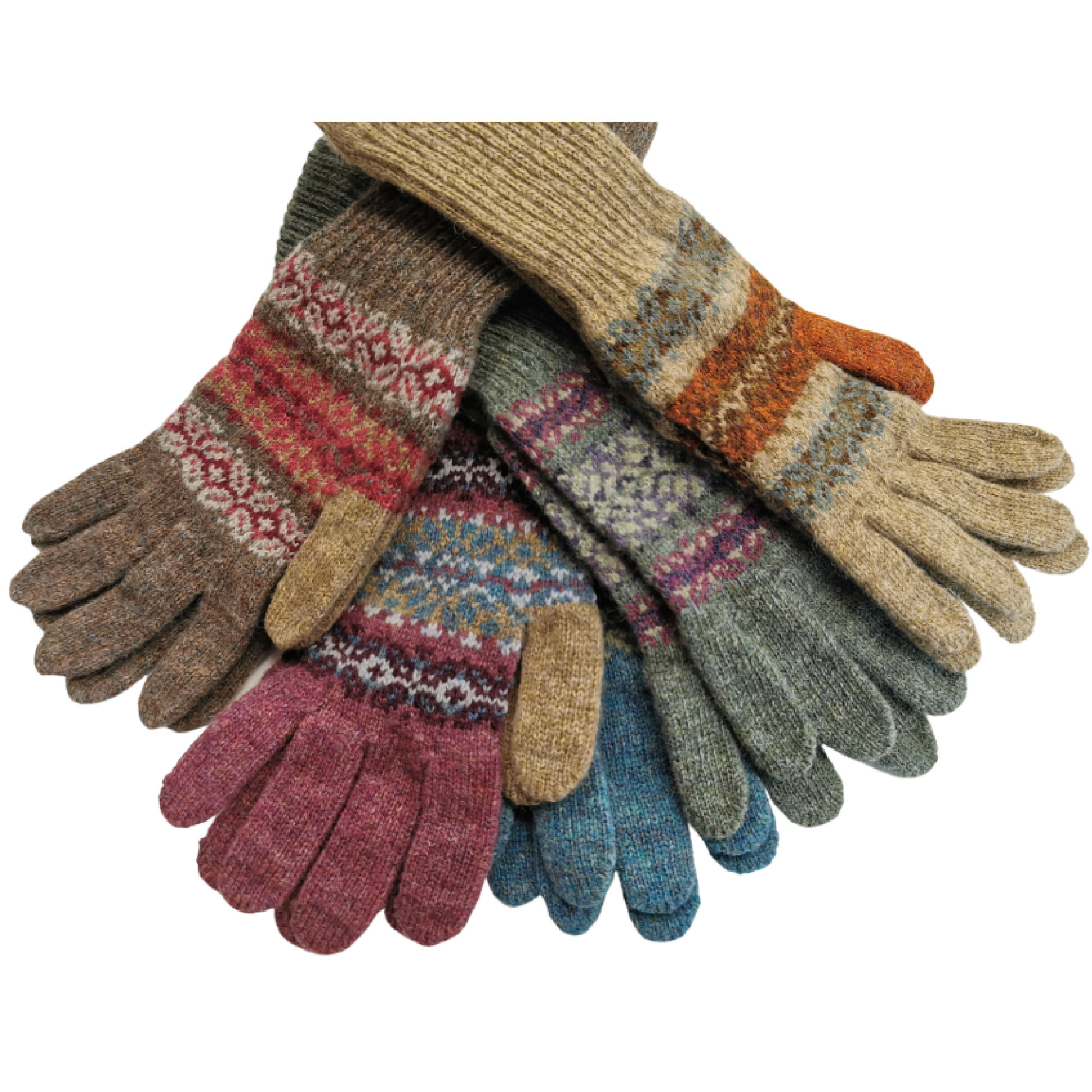 Fair Isle Shetland Wool Gloves by Louise Wedderburn