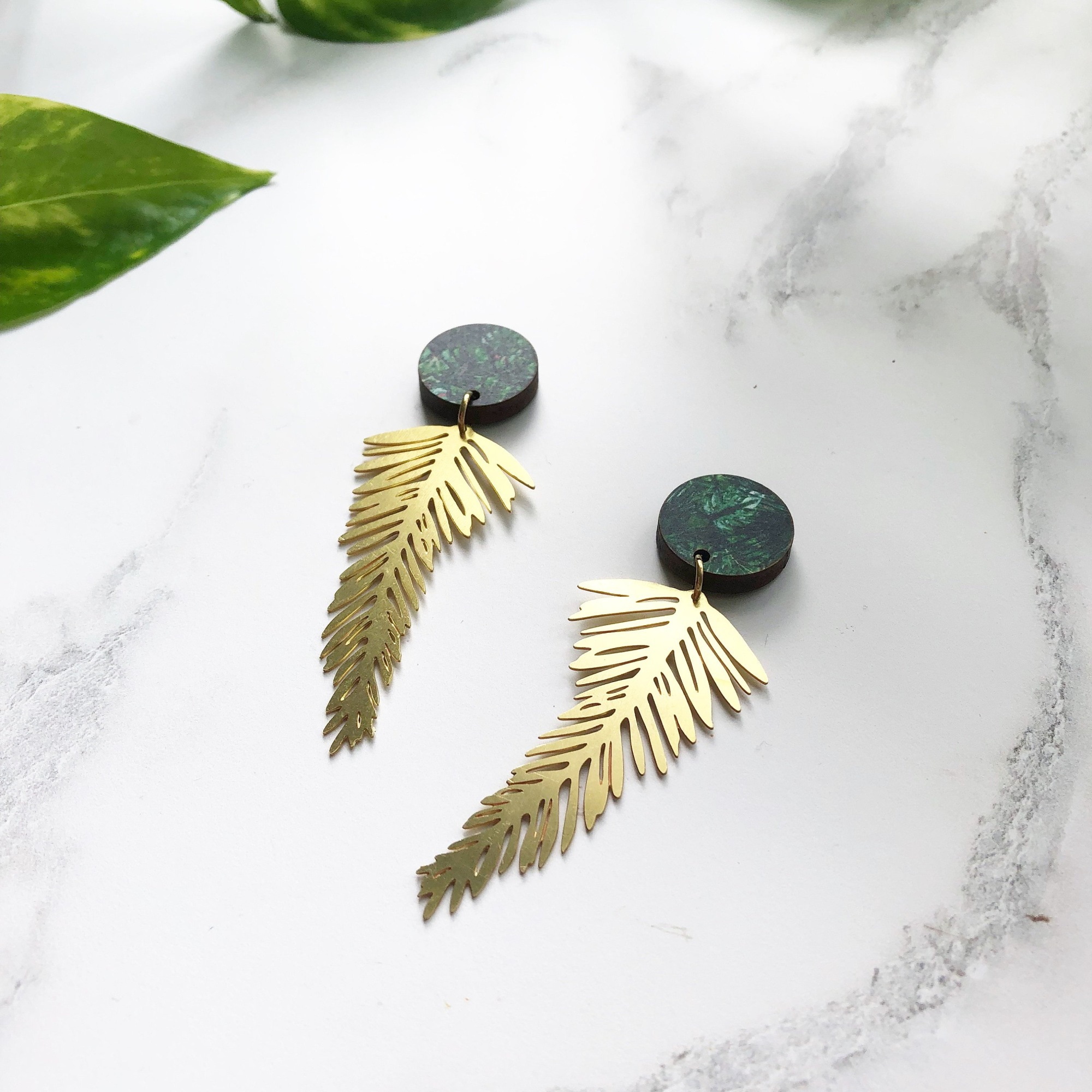 Palm Leaf Earrings by Mica Peet