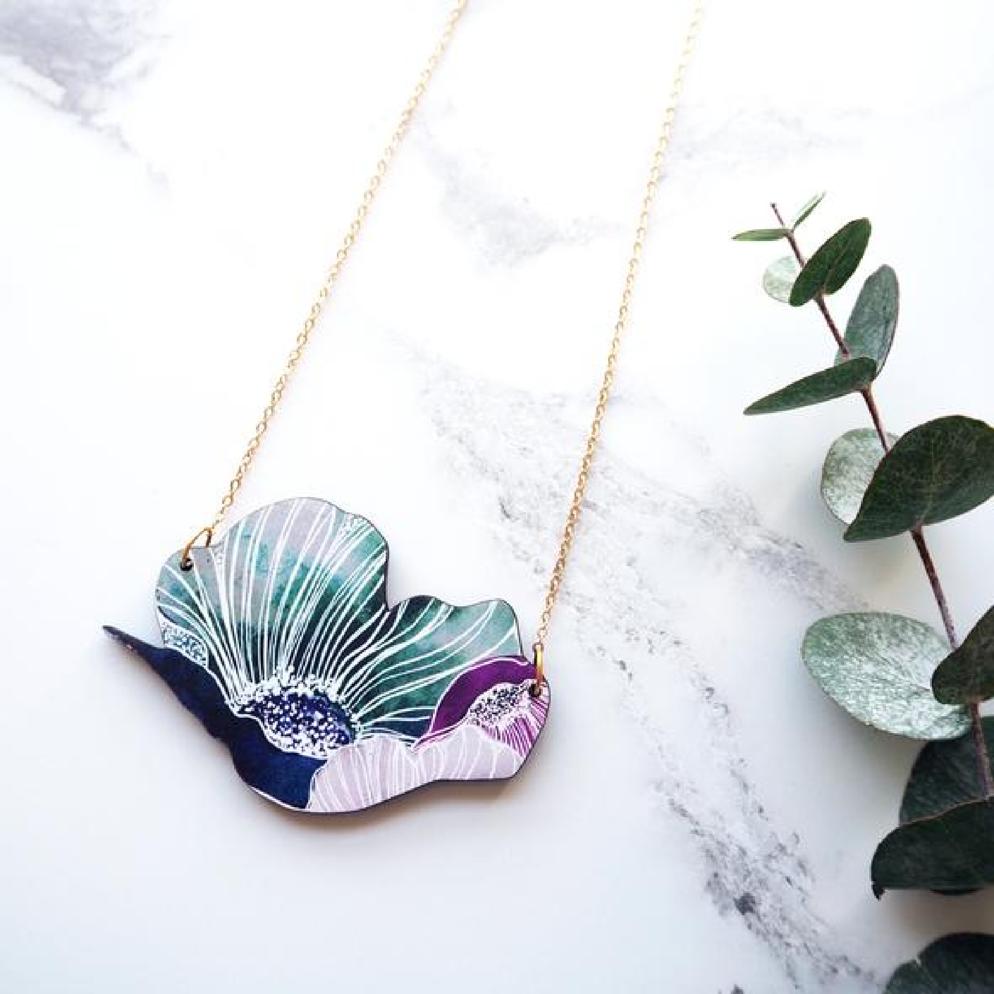 Anemone Floral Necklace by Mica Peet