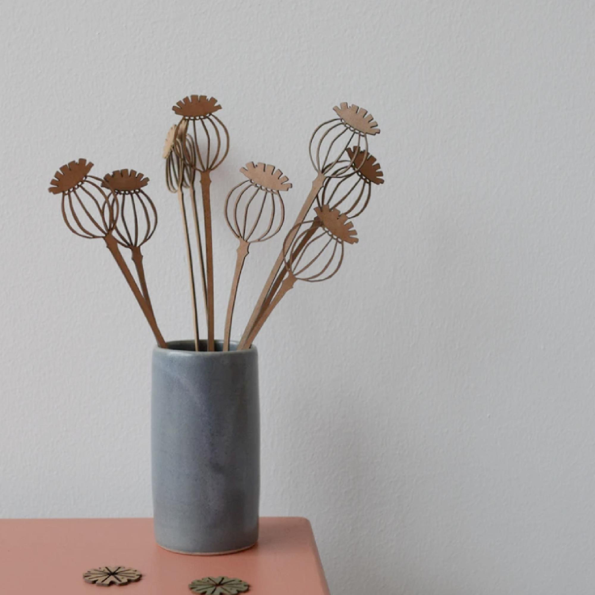 Bunch of Poppy Seed Head Stems by Hannah Nunn