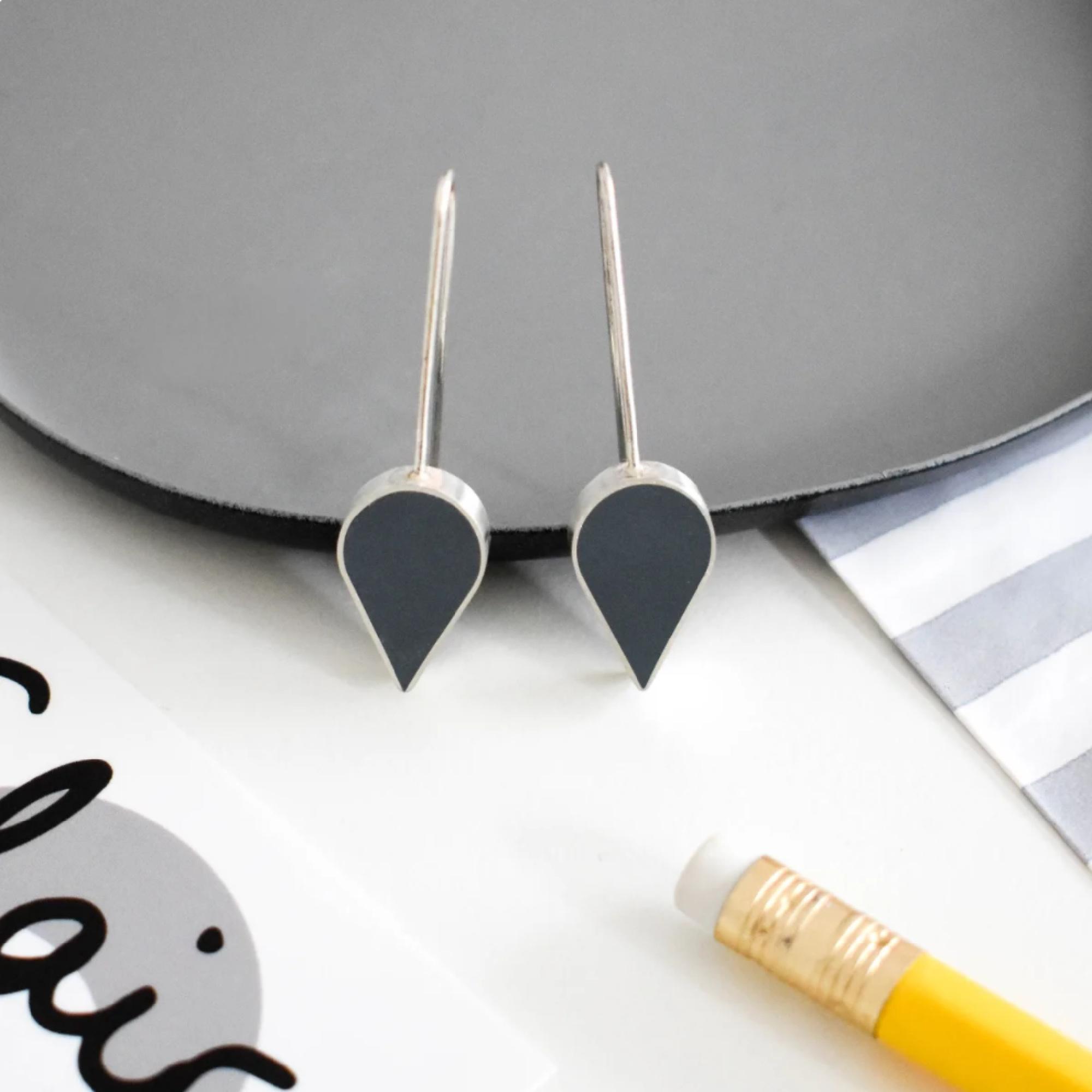 Grey Resin Teardrop Earrings by Claire Lowe