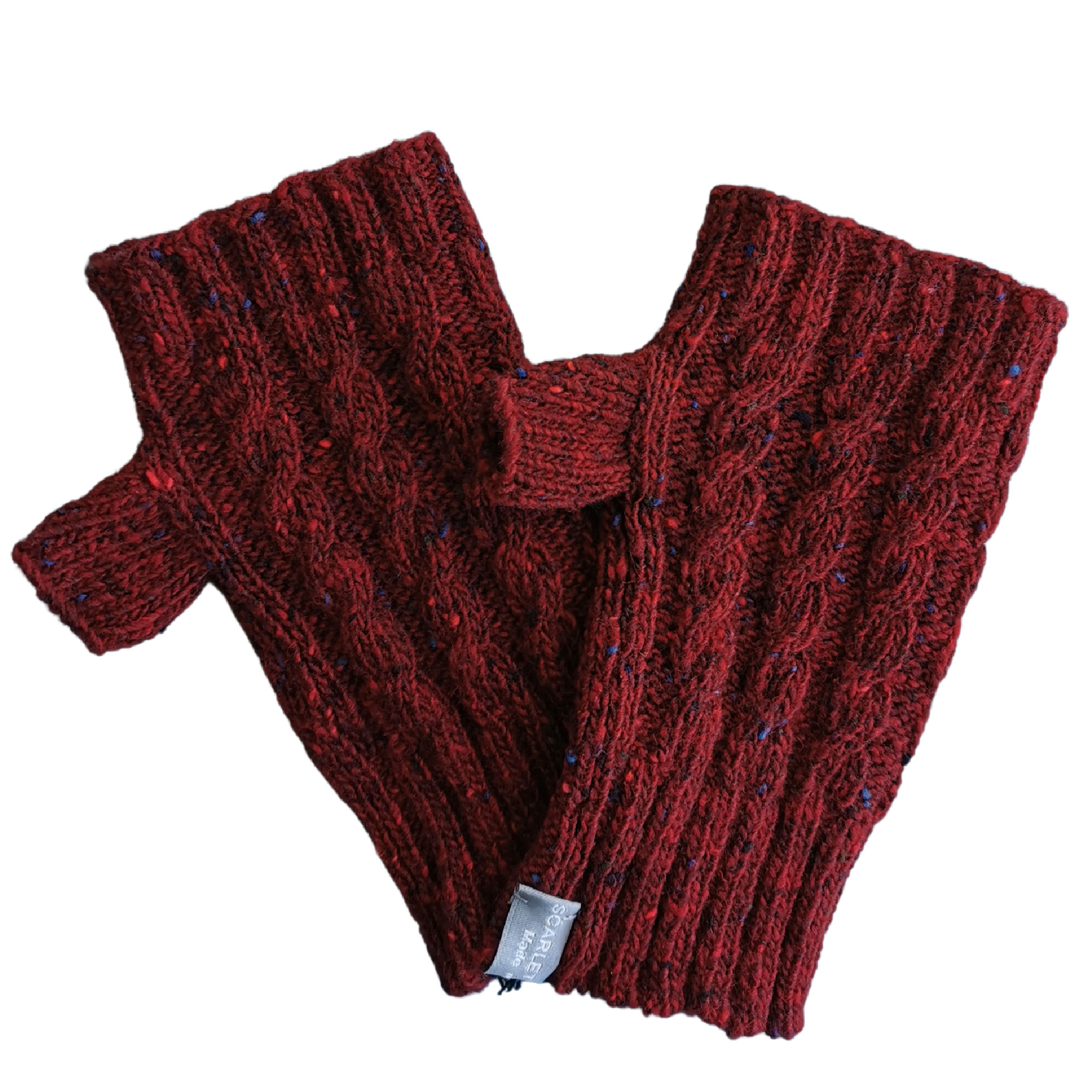 Cable Fingerless Gloves in Merino Wool by Scarlet Knitwear