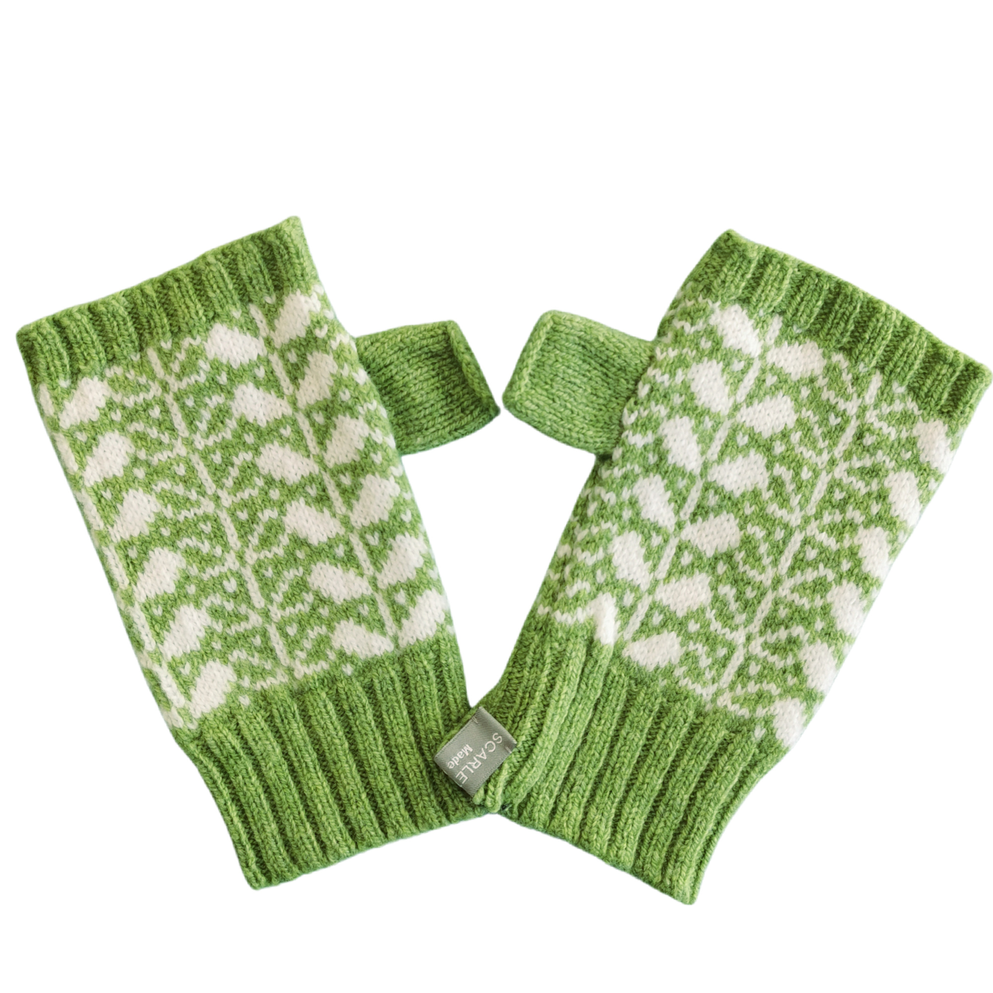 Leaf Design Fingerless Gloves by Scarlet Knitwear