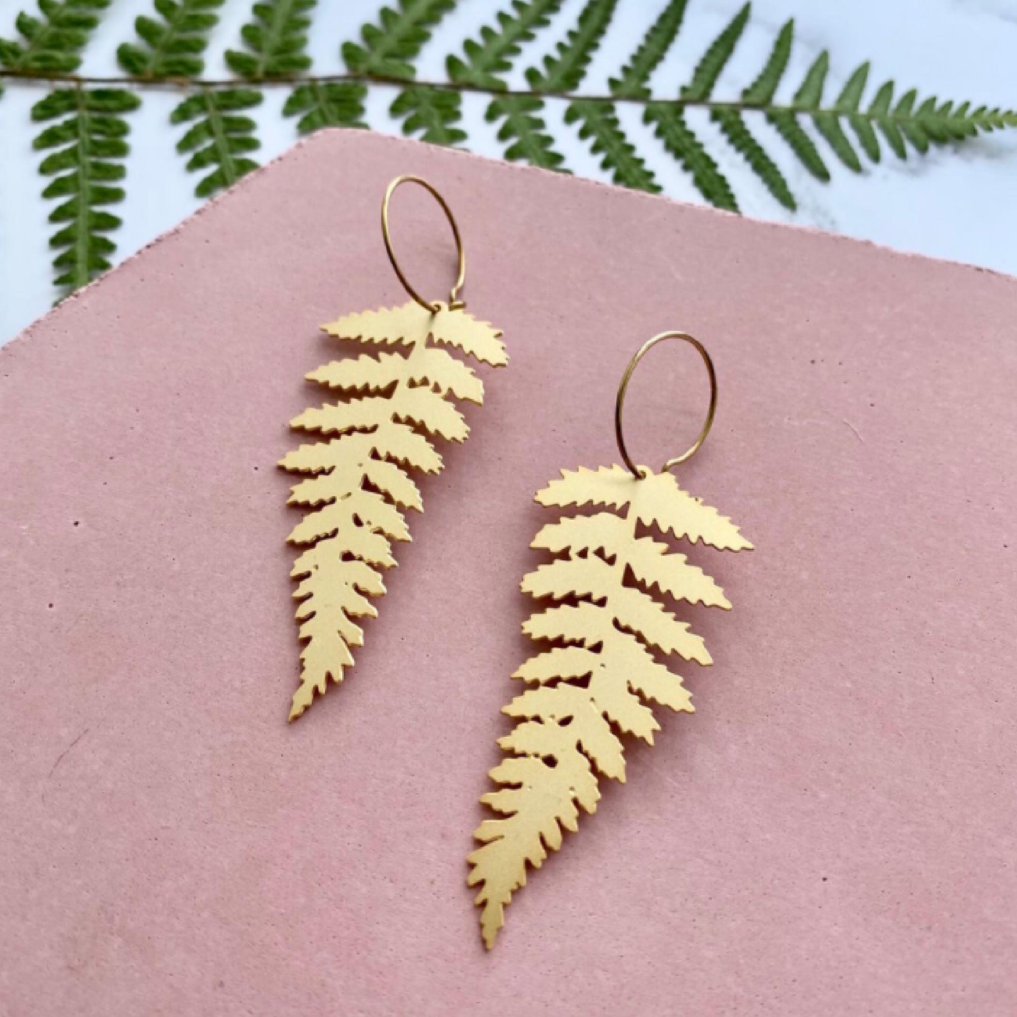 Fern Leaf Earrings by Mica Peet