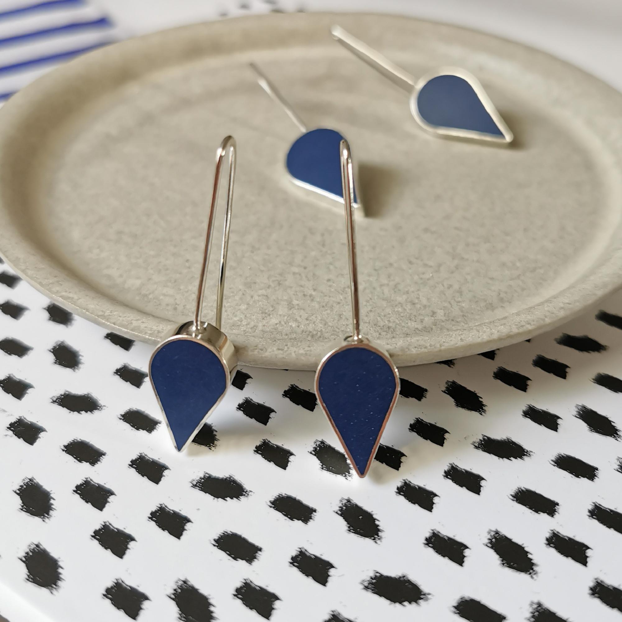 Navy Resin Teardrop Earrings by Claire Lowe
