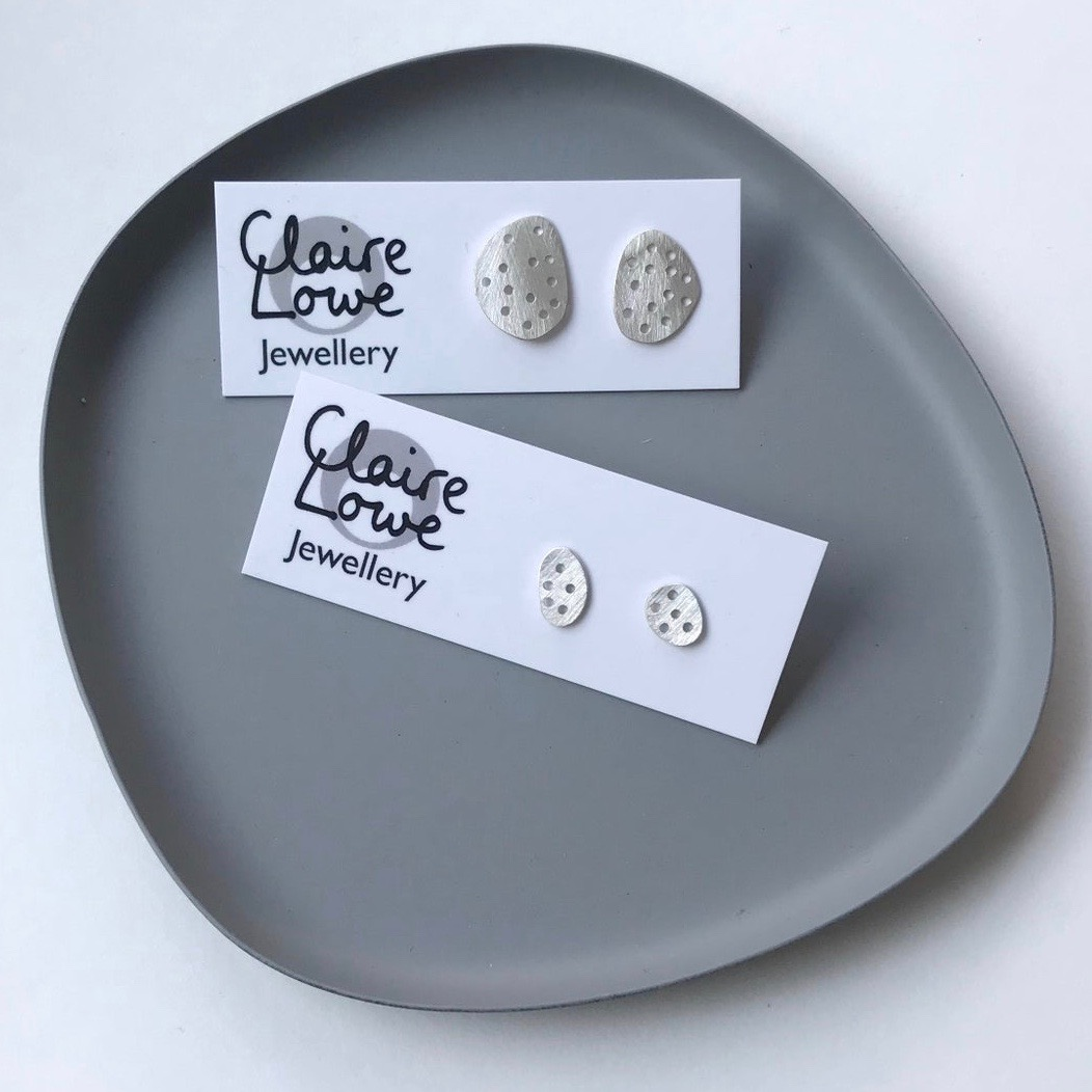 Silver Pebble Stud Earrings by Claire Lowe