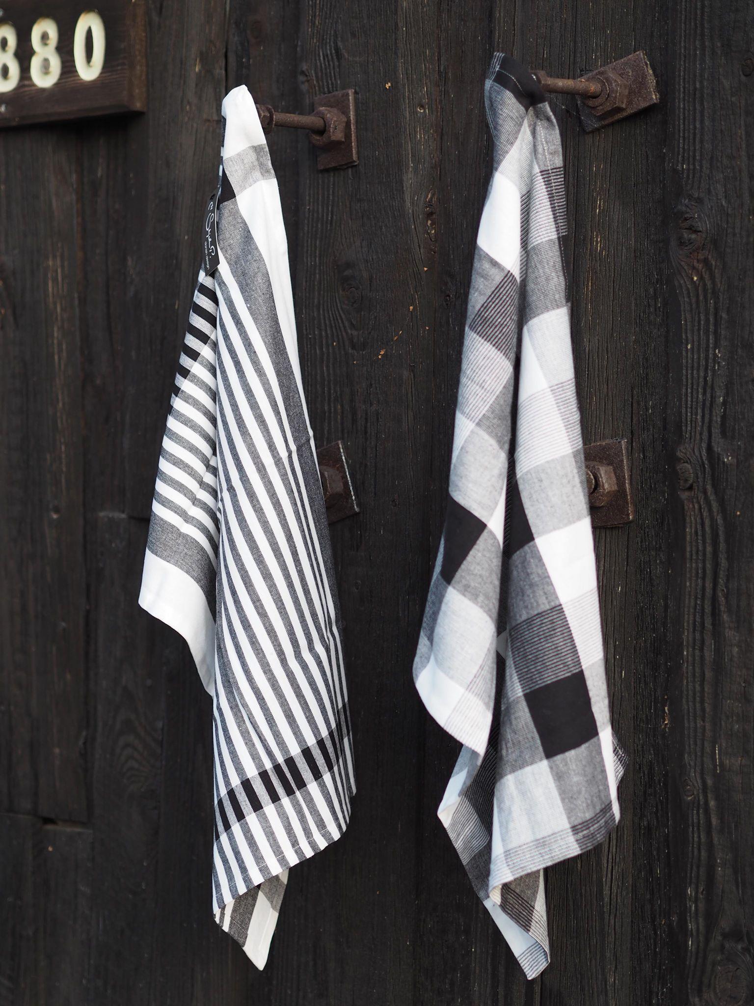 Kjøkkenhåndkle sort/hvitt