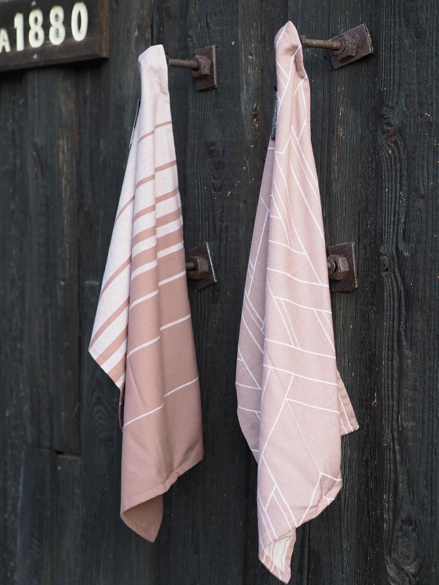 Kjøkkenhåndkle støvet rosa
