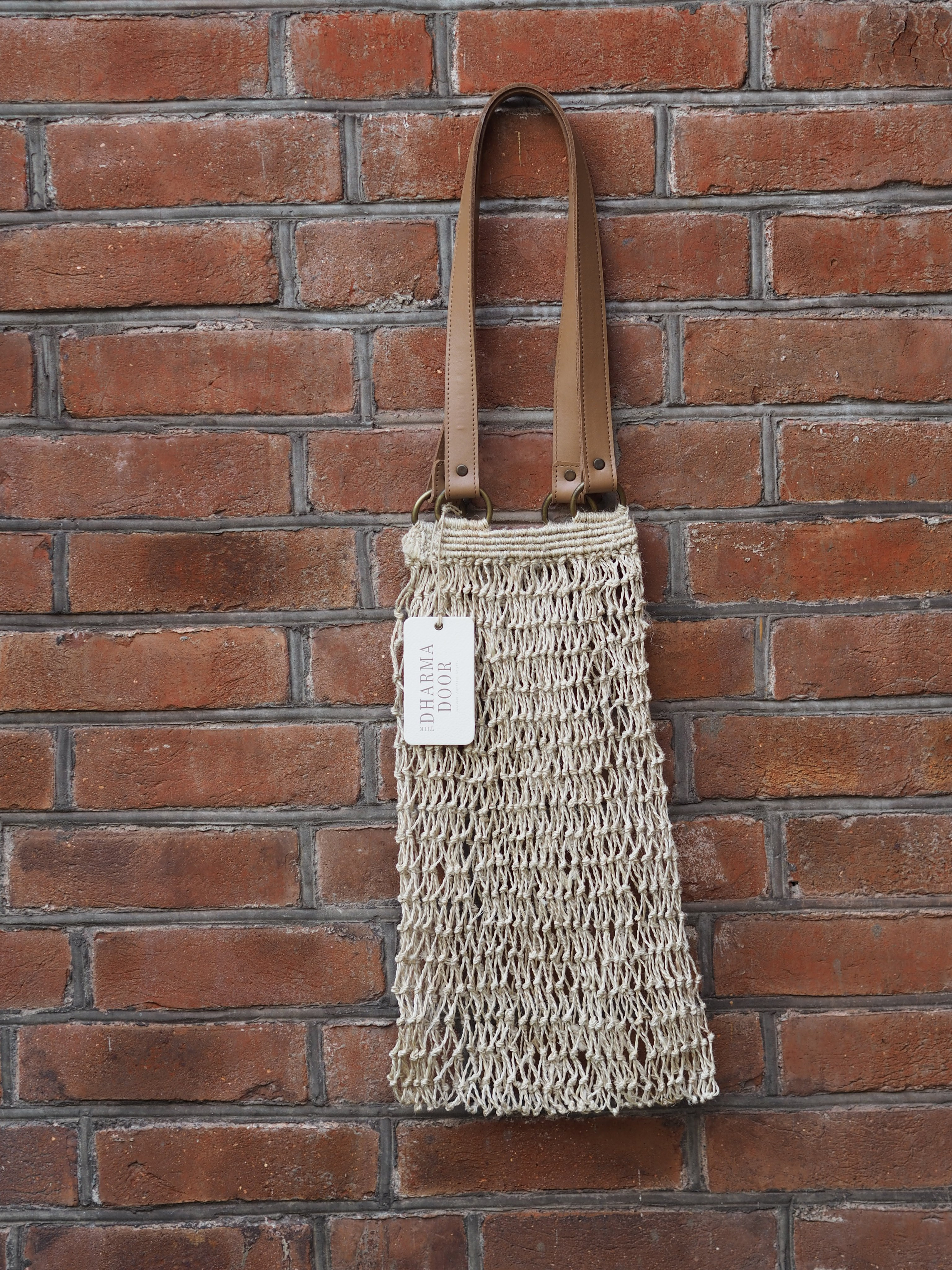 Strand Bag With Leather Handles - Natural, The Dharma Door