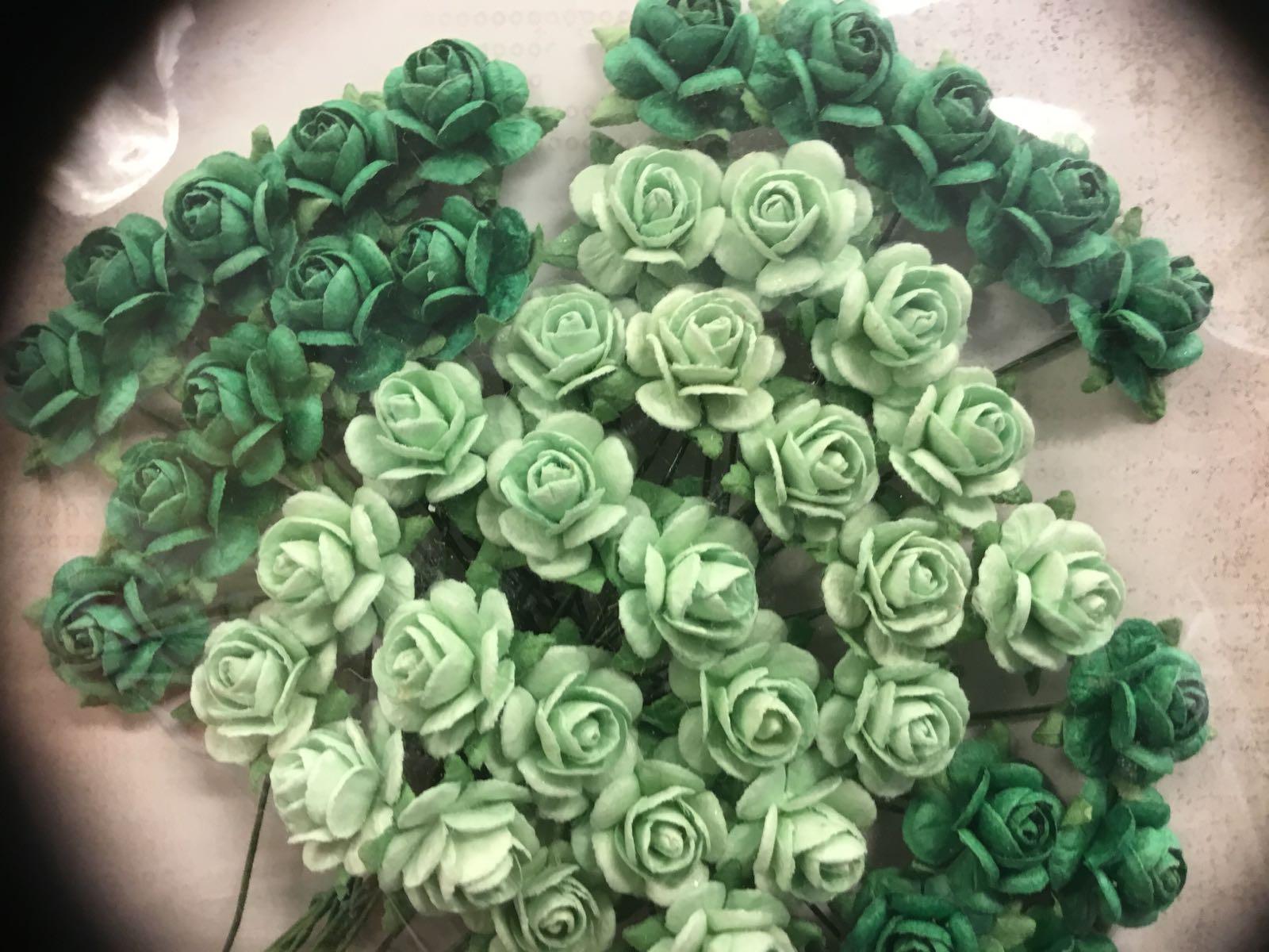 Papirdesign blomst, rose mørke-grønn/lyse-grønn, 1,2cm
