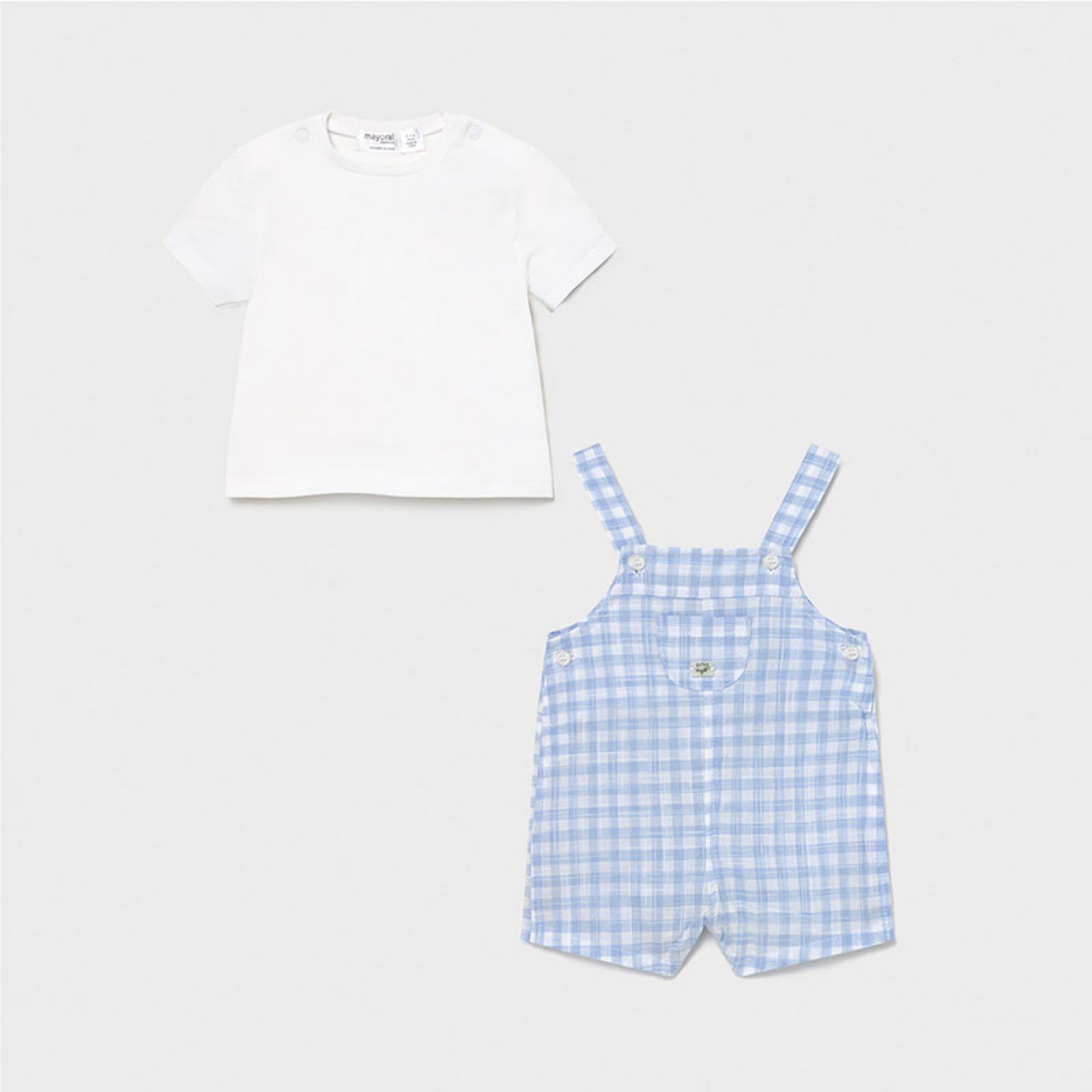 MAYORAL BABY BOY Blue Gingham Dungarees 1639