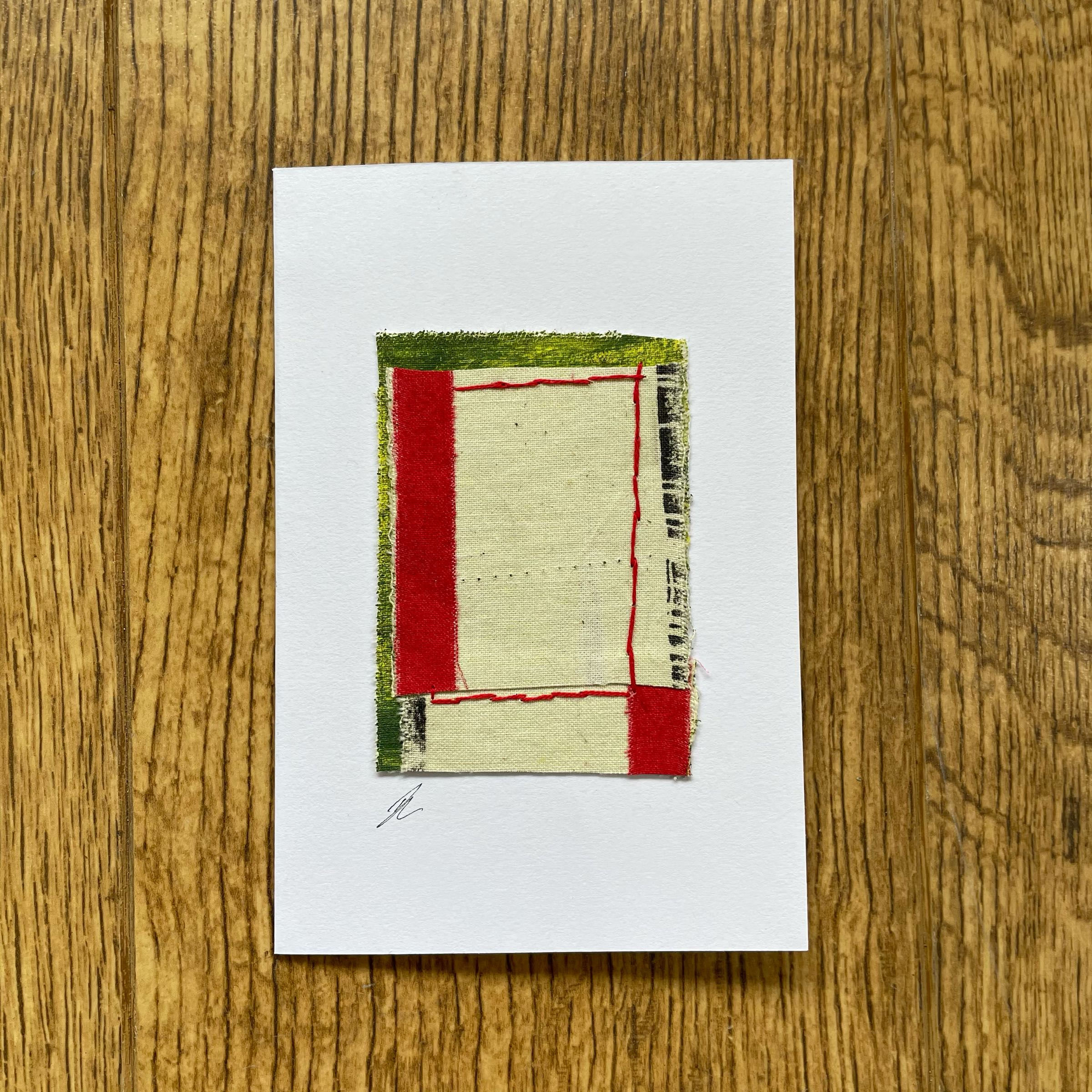 Mini Textile collage card by Ros Johnson