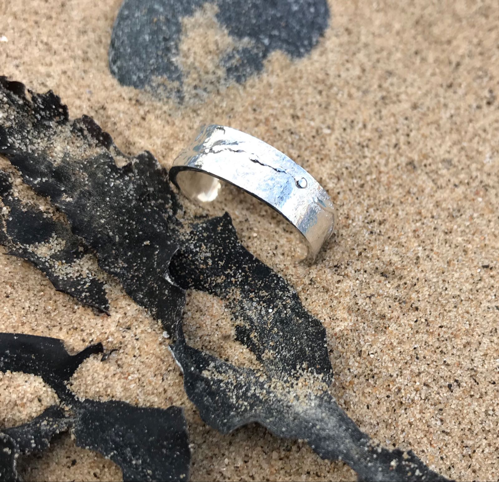 Sea Ripple Eco-silver  Ring 7mm wide