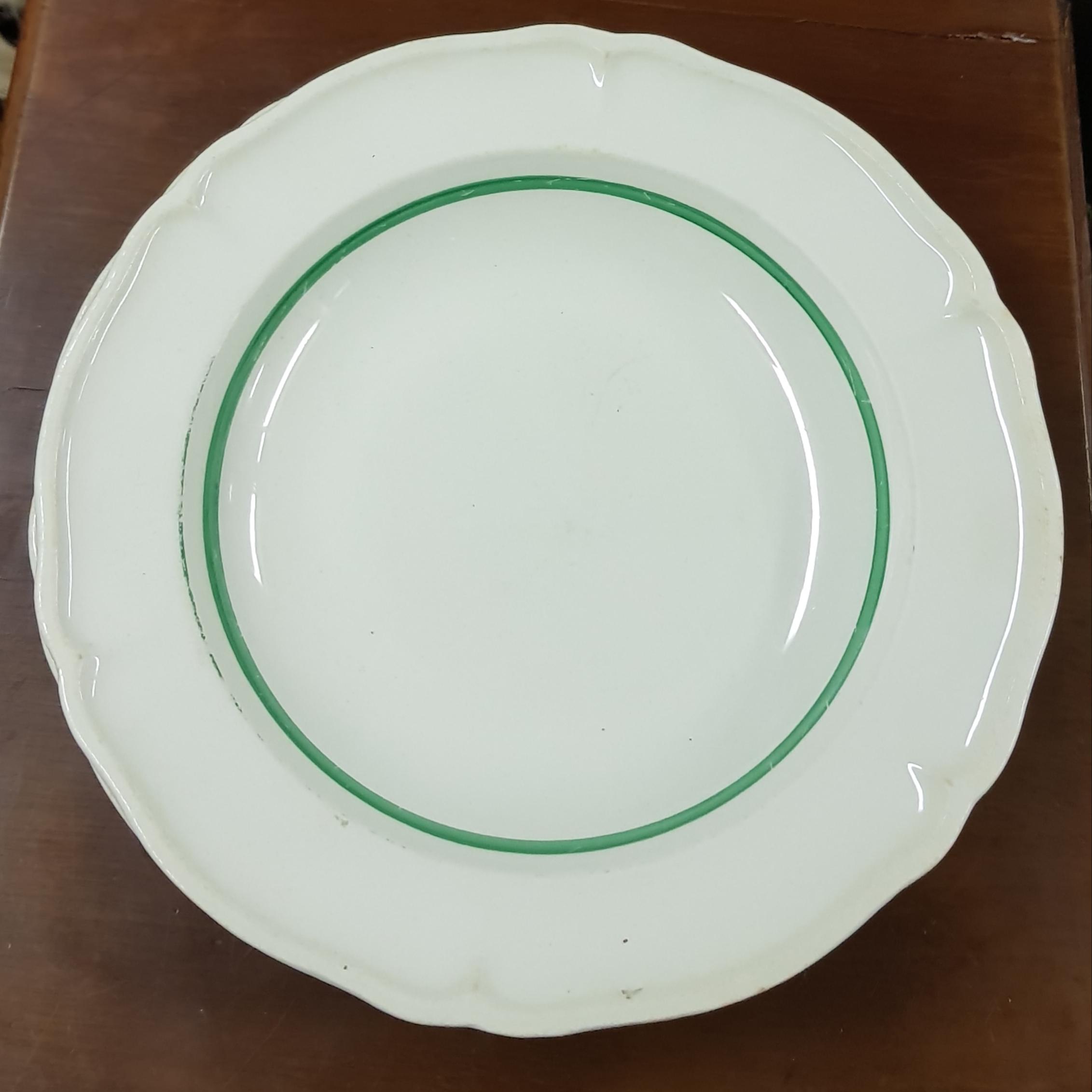 Arabia vihreä raita keittolautasia, 4kpl