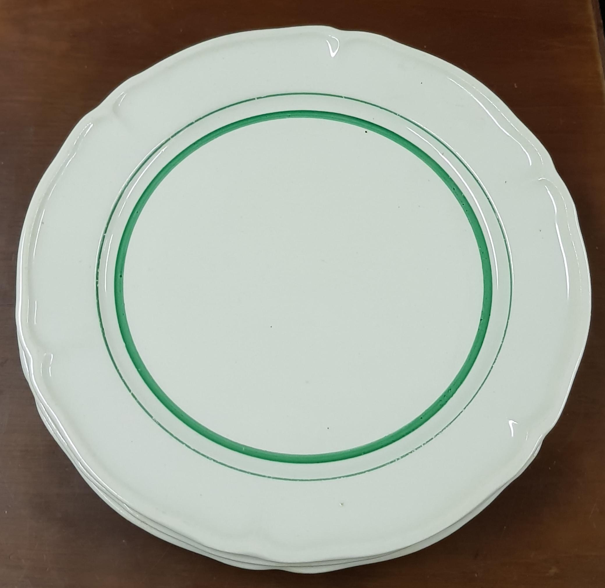 Arabia ruokalautaset, vihreä raita 4kpl