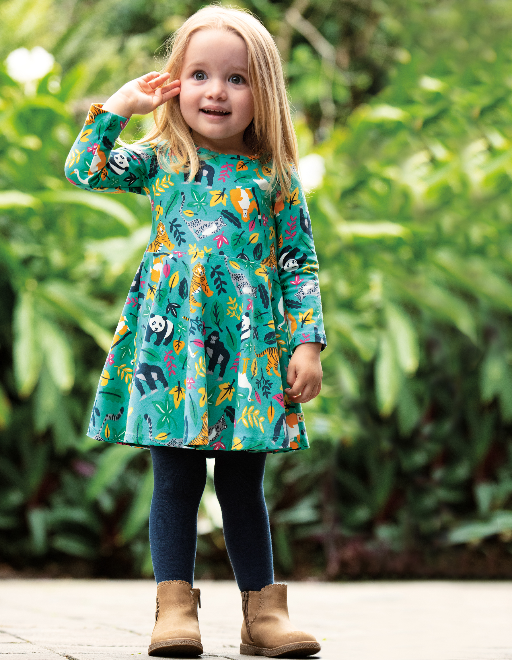 Frugi - Sofia skater dress - Aqua Endangered Heroes