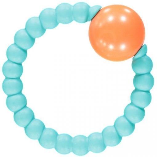 Nibbling - Rattle Ring - Turquoise & Orange