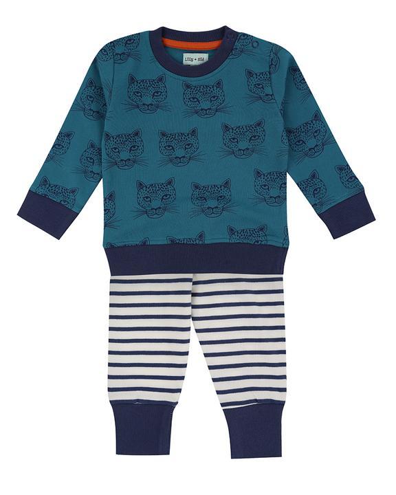 Lilly + Sid - Cheetah Baby Sweatshirt and stripe leggings set