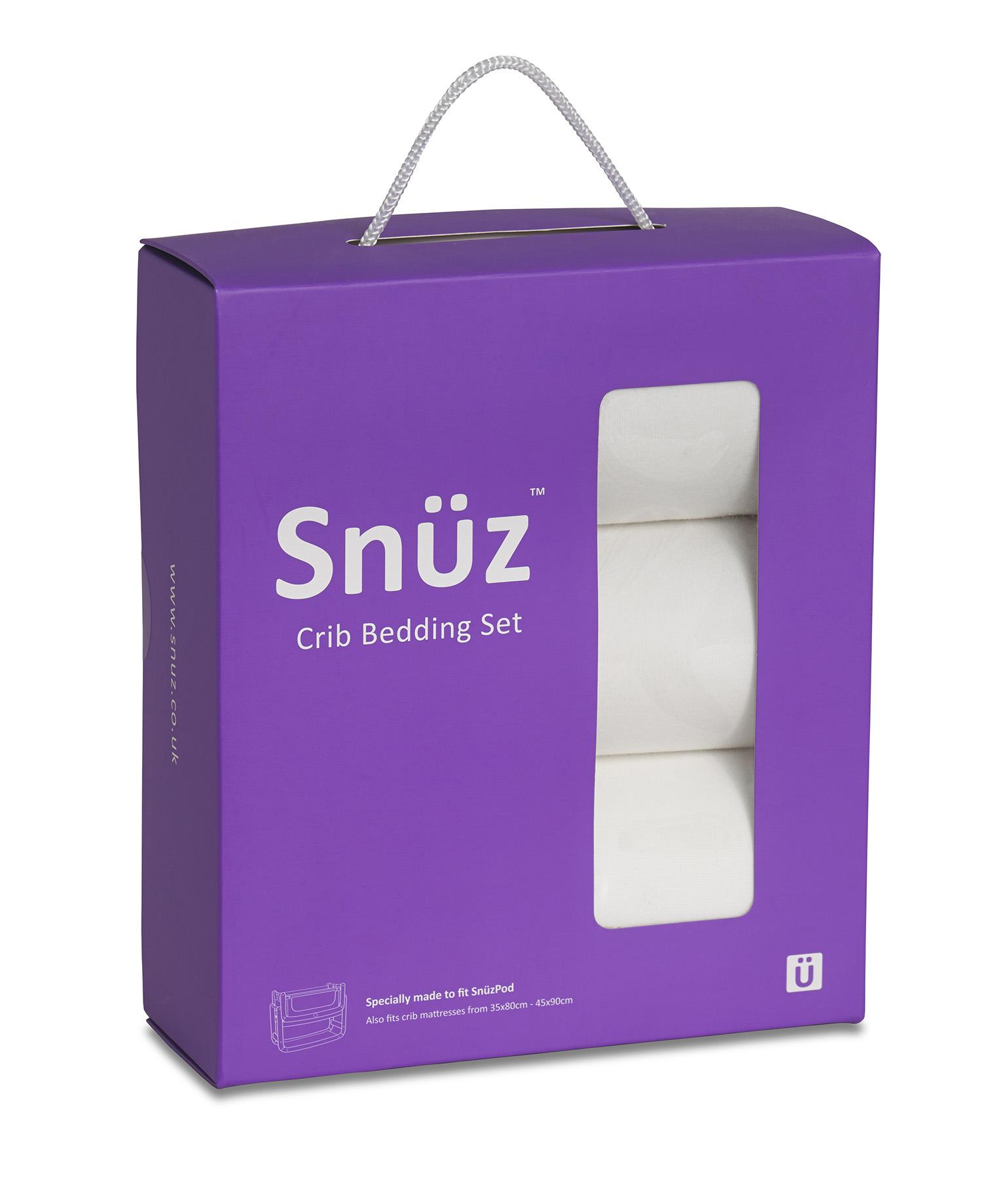 Snuz 3pc. Bedside Crib Bedding Set - White