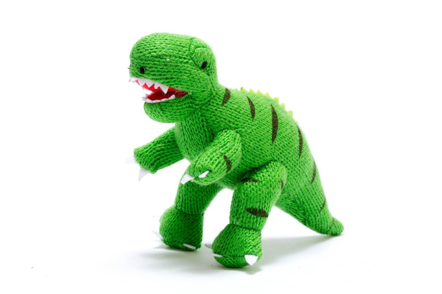 Best Years - Knitted rattle - T-Rex - Green
