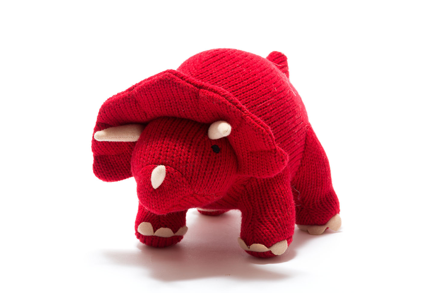 Best Years - Knitted Medium Toy - Triceratops - Red