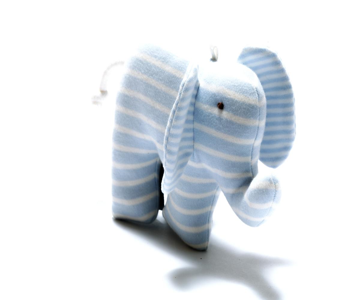 Under the Nile- organic scrappy elephant- blue stripe