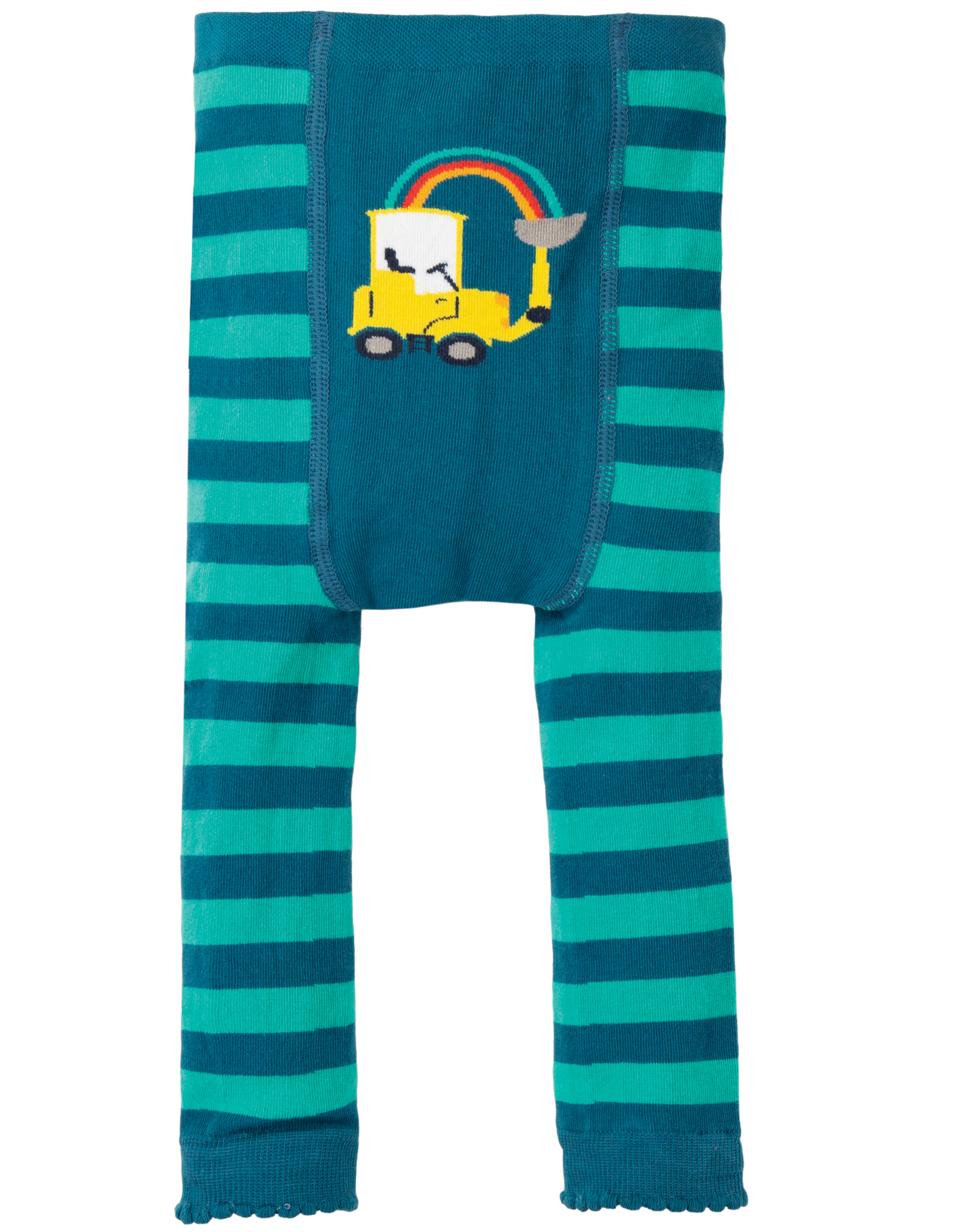 Frugi - fun knitted leggings - Pacific aqua/tractor
