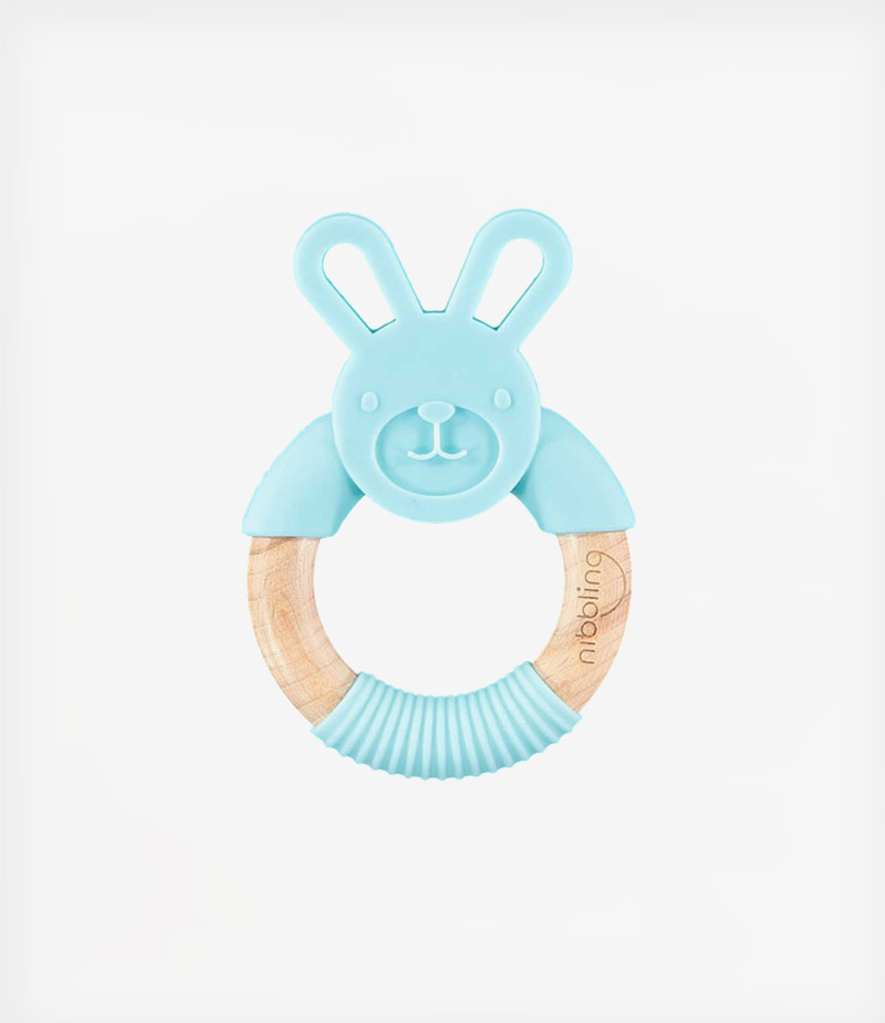 Nibbling - Chewy bunny forest friends teething toy - Blue